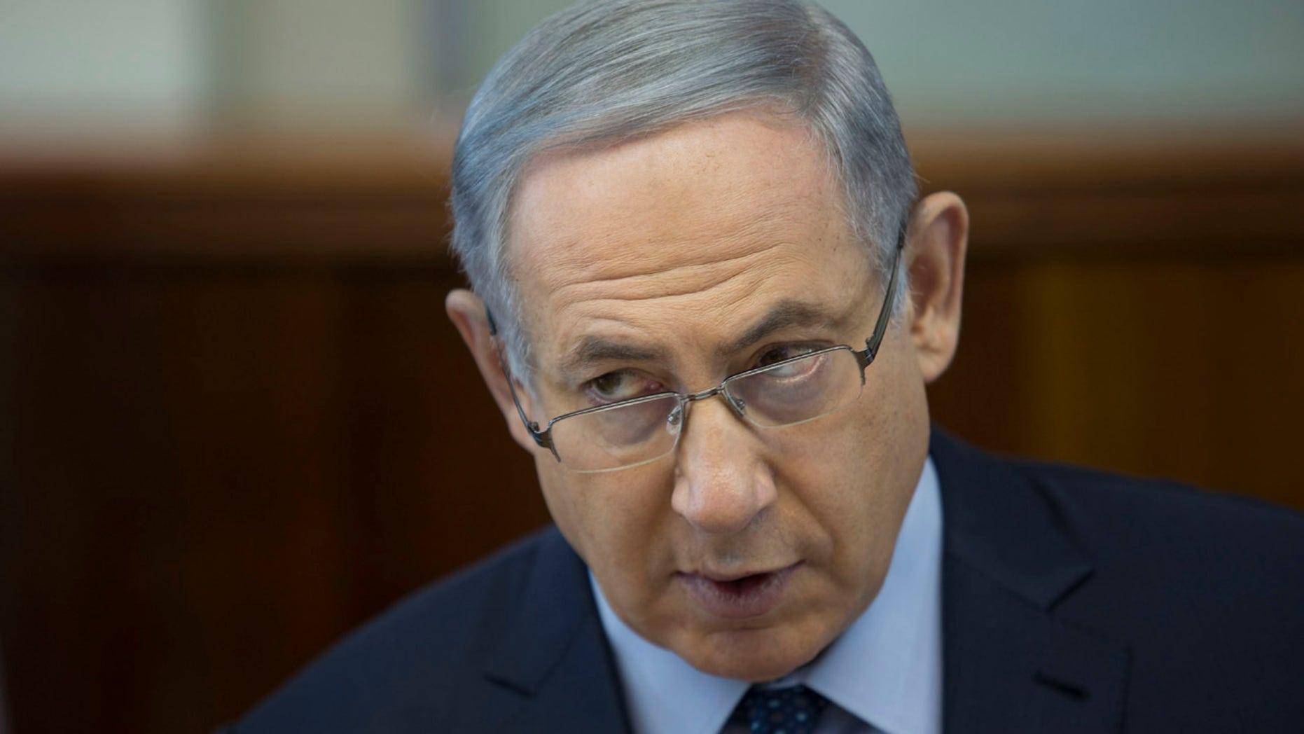 March 6, 2016: Israel's Prime Minister Benjamin Netanyahu chairs the weekly cabinet meeting in Jerusalem. (Abir Sultan/Pool Photo via AP)