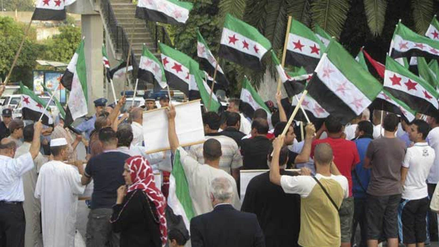 July 3, 2012: This citizen journalist image provided by Shaam News Network purports to show a protest against violence by the Syrian government, in a suburb of Damascus, Syria.