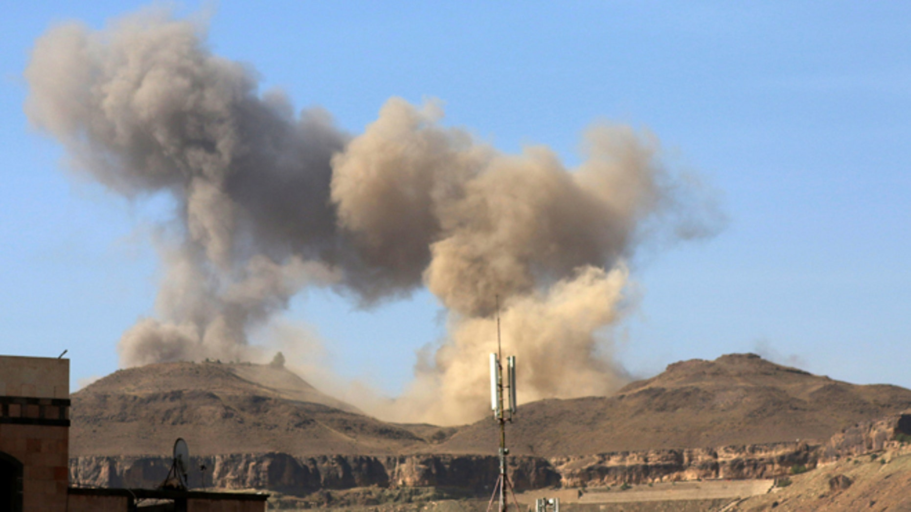 April 17, 2015: Smoke rises after a Saudi-led airstrike on Sanaa, Yemen.