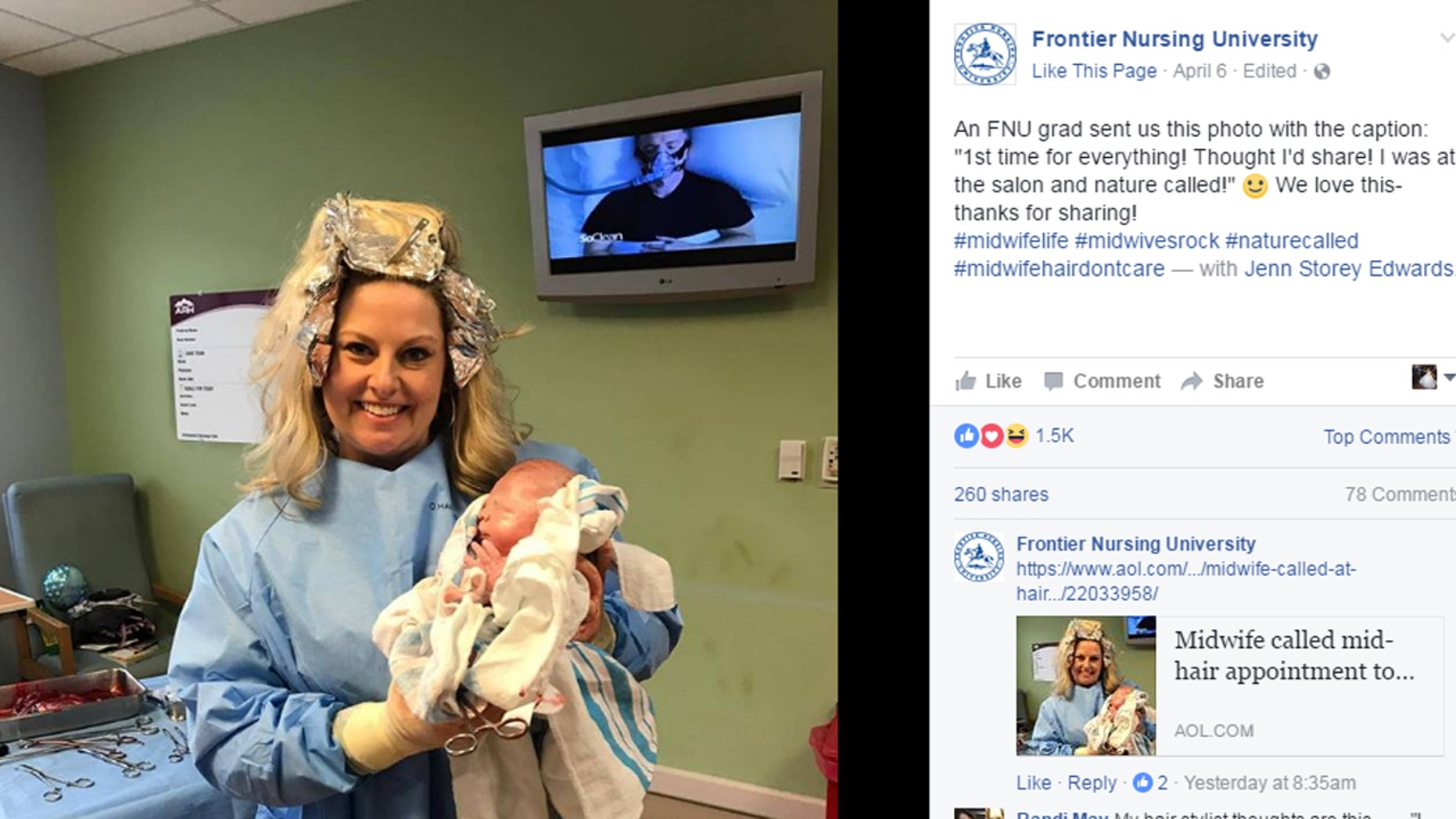 Midwife Carrie Hall was in the middle of getting her hair dyed when a patient went into labor.