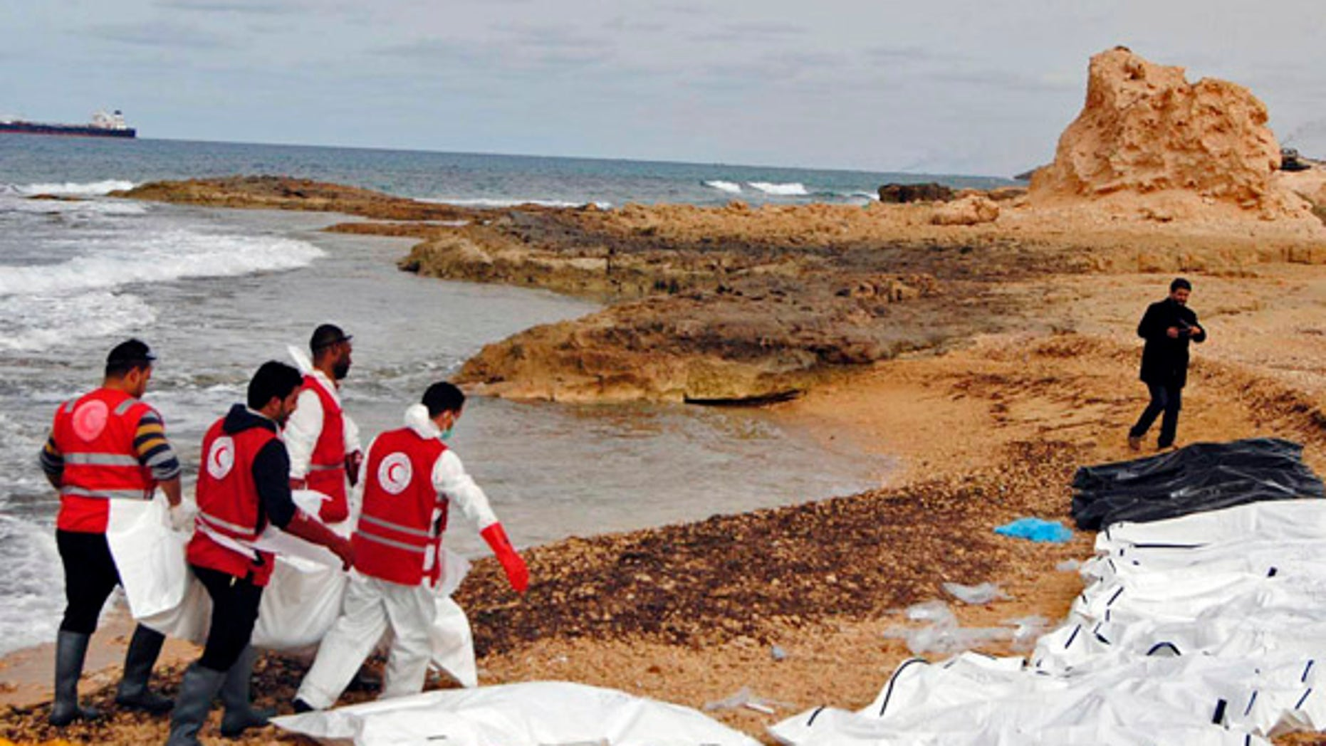 The bodies of people that washed ashore and were recovered by the Libyan Red Crescent, near Zawiya, Libya.