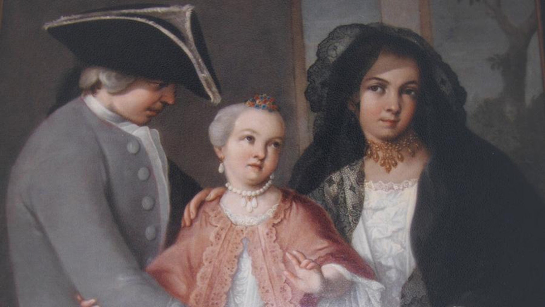 """Miguel Cabrera, """"3. From Spaniard and Castiza, Spanish Girl (detail),"""" 1763, oil on canvas."""