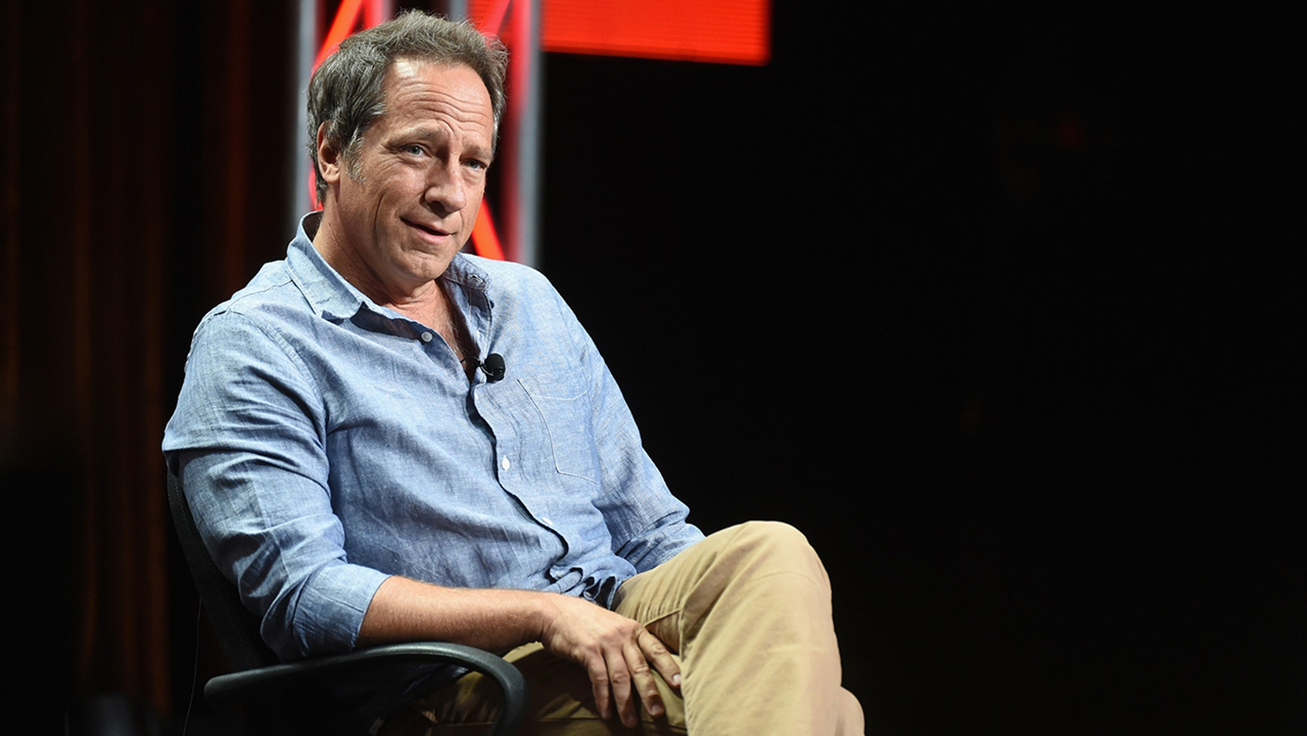 "LOS ANGELES, CA - JULY 10:  Actor Mike Rowe speaks during the ""Somebody's Gotta Do It"" portion of the 2014 TCA Turner Broadcasting Summer Press Tour Presentation at The Beverly Hilton on July 10, 2014 in Los Angeles, California.  (Photo by Michael Buckner/WireImage)"
