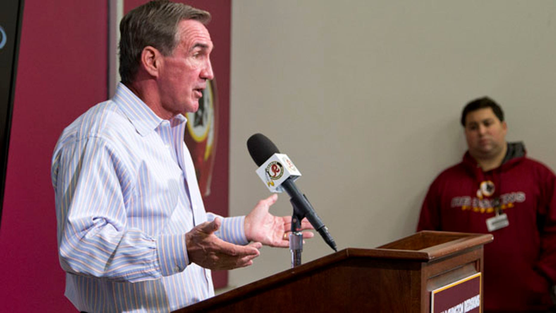 Dec. 30, 2013: Former Washington Redskins head coach Mike Shanahan delivers a statement at an NFL football news conference in Ashburn, Va., after being fired.