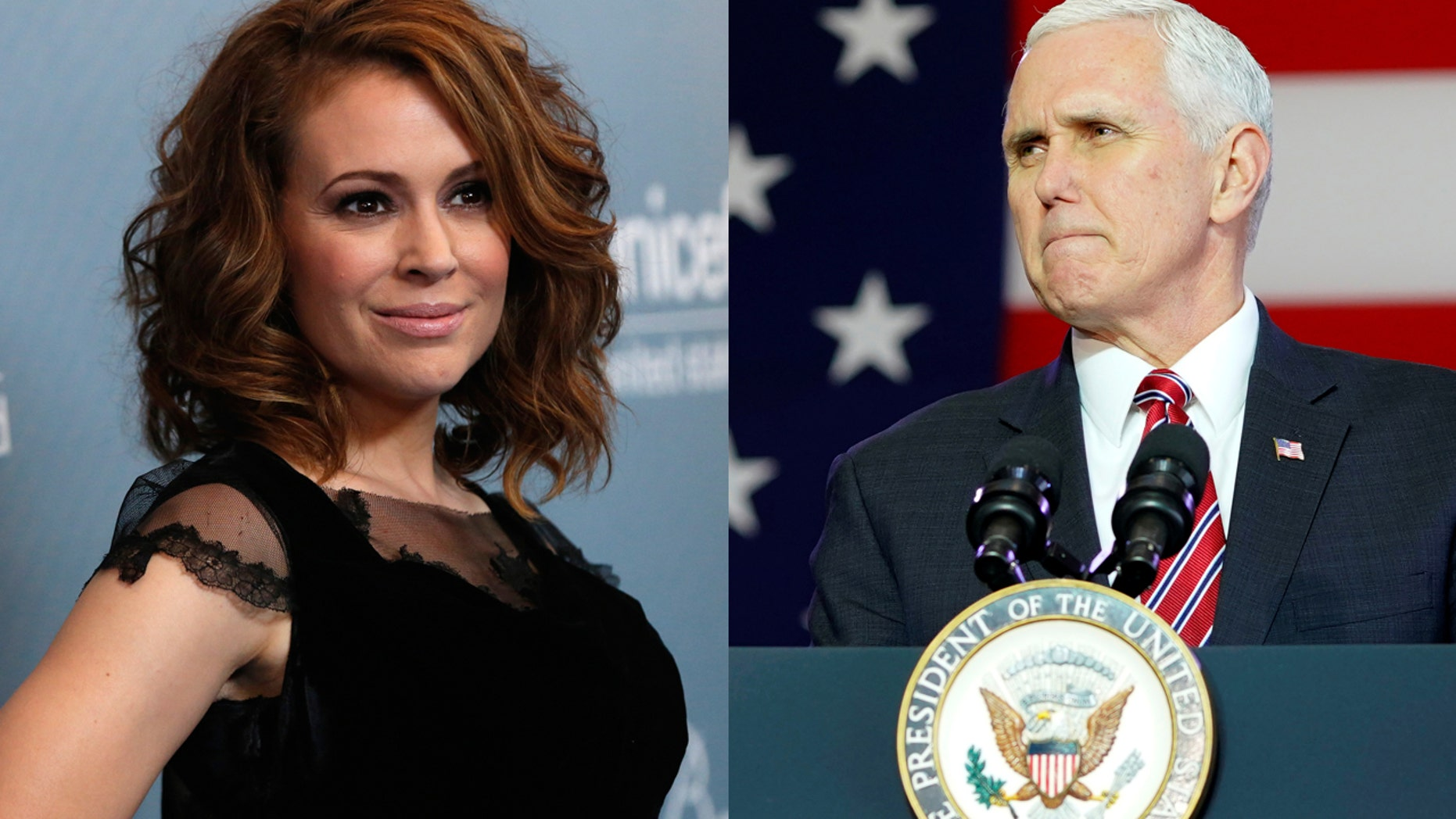 Actress Alyssa Milano demands that Vice President Mike Pence step down from speaking at the upcoming NRA conference.