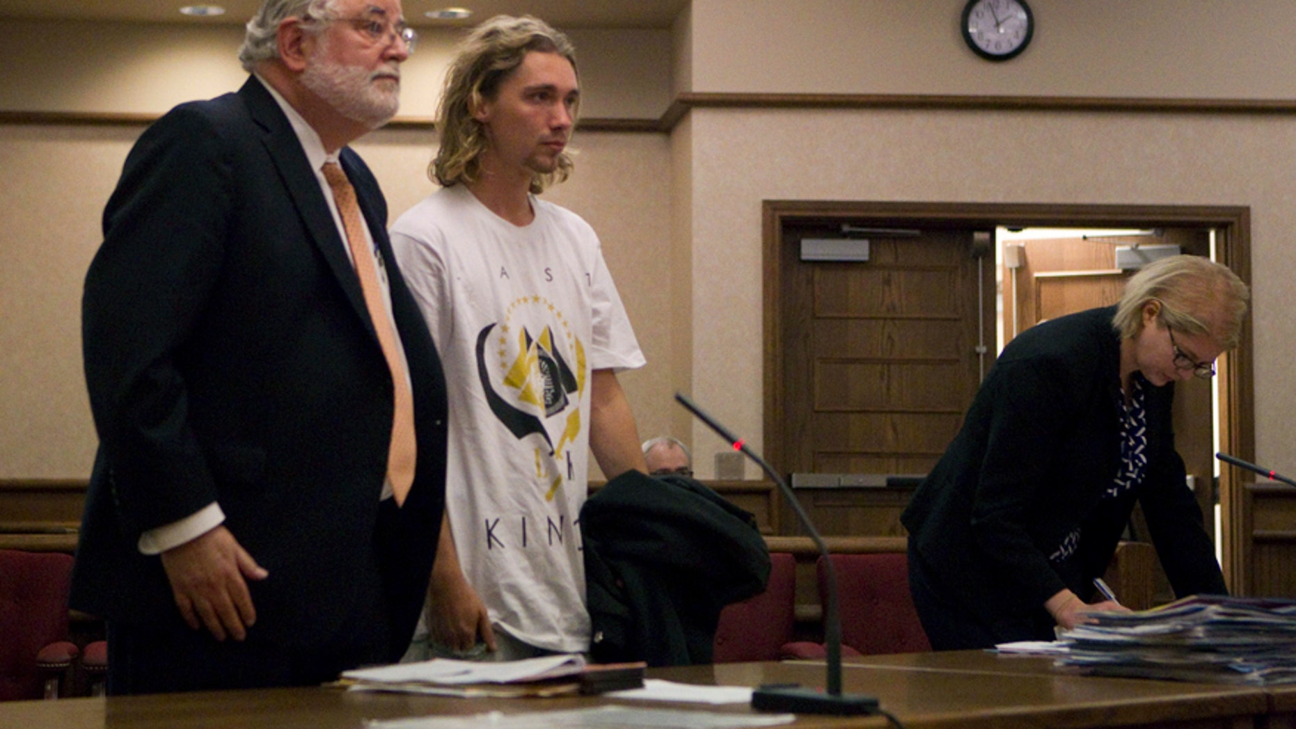 Jesse Helt appears in the Polk County courthouse for an arraignment regarding a probation violation in Dallas, Ore. Tuesday, Sept. 16, 2014.