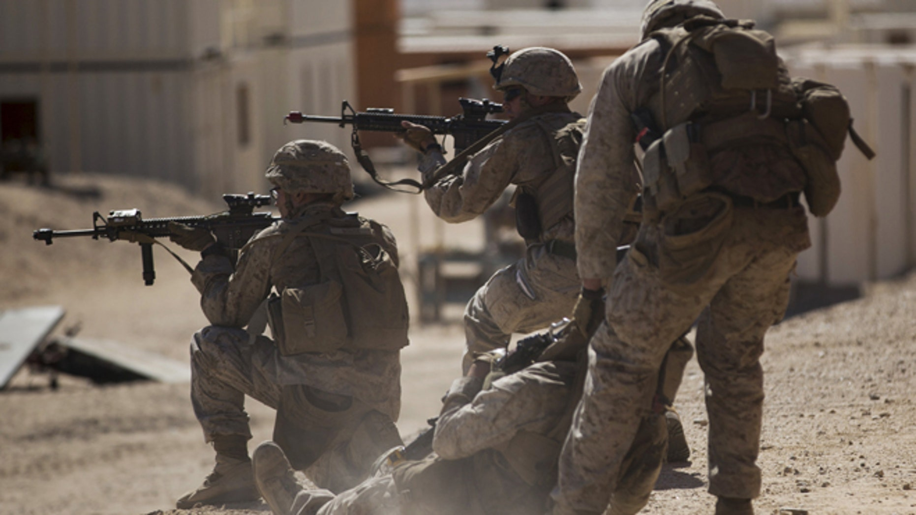 U.S. Marines during a non-live fire Military Operations in Urban Terrain (MOUT) training.