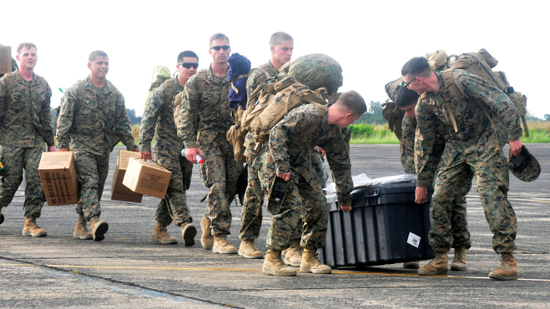 FILE:  Oct. 9, 2014: marines arrival at the Roberts International airport in Monrovia, Liberia.