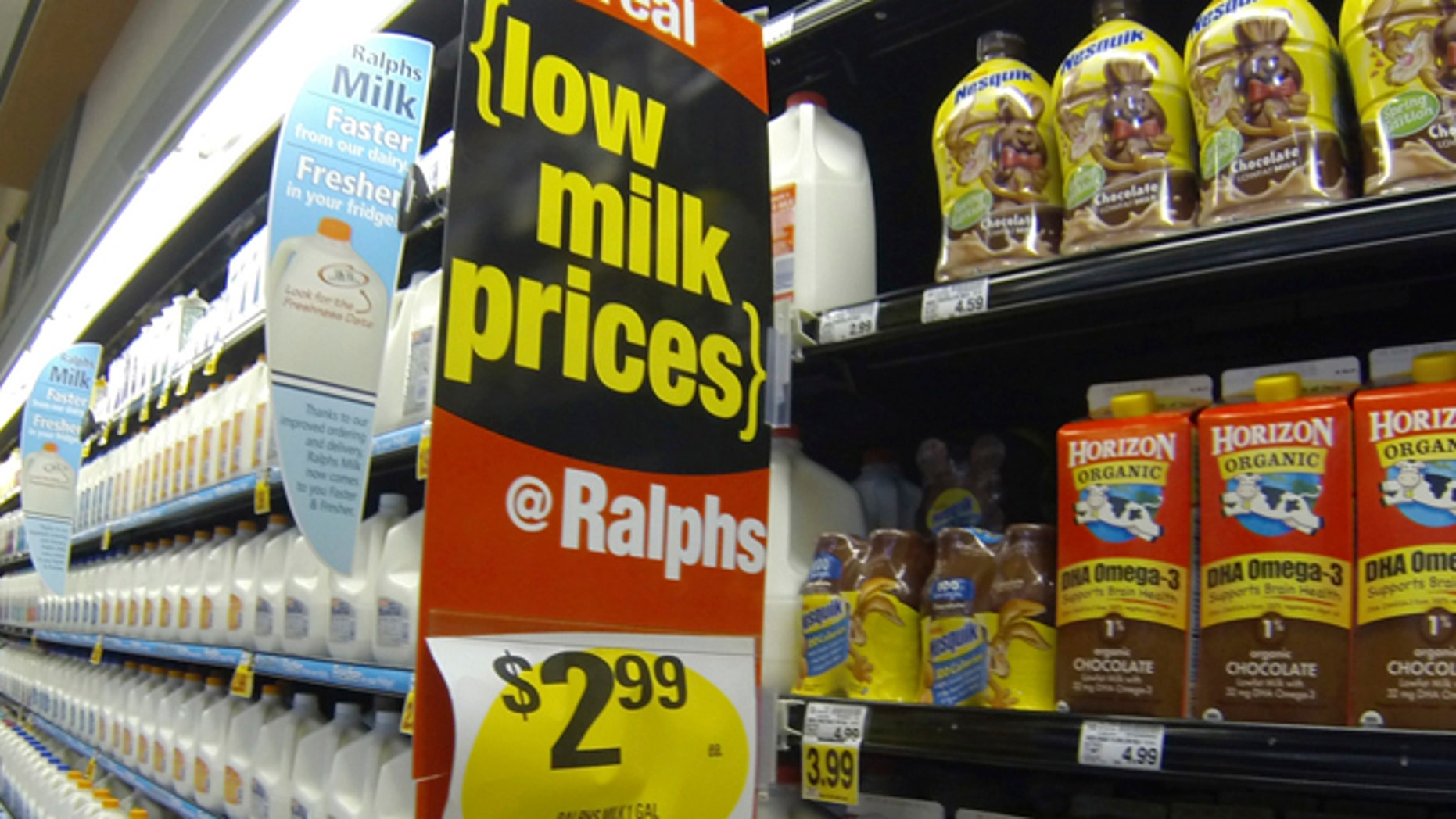 FILE: March 6, 2013: Milk for sale at a Ralphs grocery store in Del Mar, Calif.