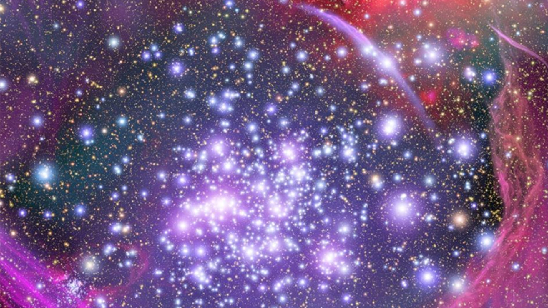 An artist's impression shows how the Arches star cluster appears from deep inside the hub of our Milky Way Galaxy. A new study suggests that there are 60 billion planets in the Milky Way that support plant life.