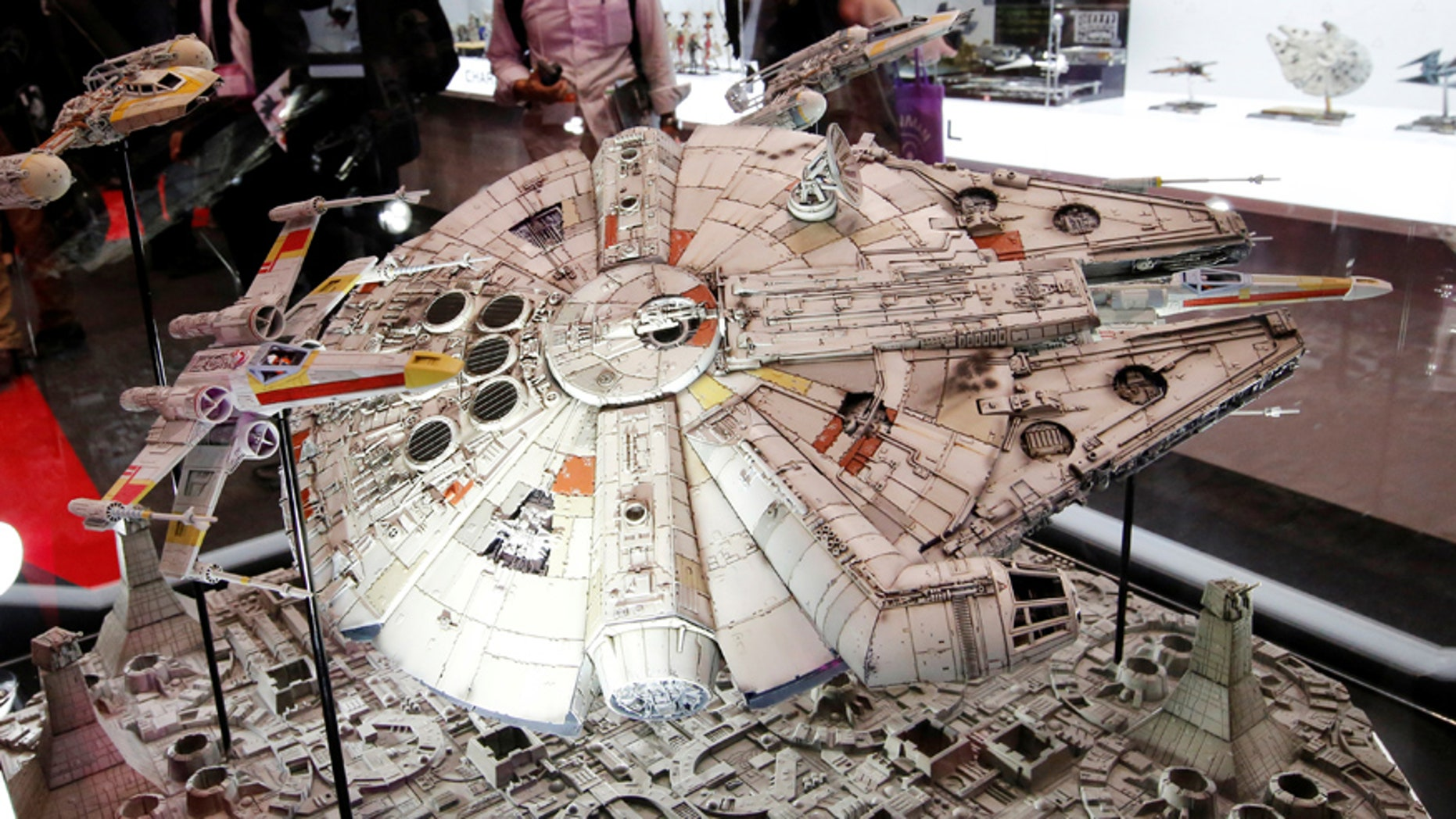 """File photo-Bandai Co's 1/72 scale plastic model of the Millennium Falcon from """"Star Wars"""" is displayed at the International Tokyo Toy Show in Tokyo, Japan June 9, 2016. (REUTERS/Toru Hanai)"""