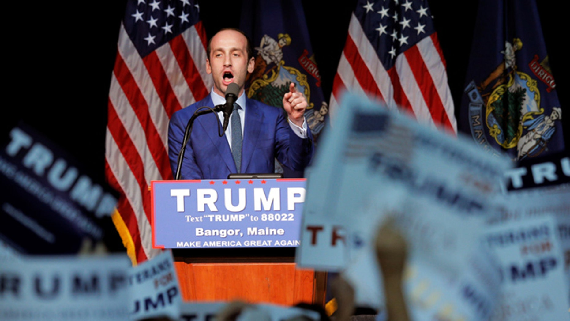 Stephen Miller, a senior policy and immigration advisor for U.S. Republican presidential candidate Donald Trump, speaks at a campaign rally in Bangor, Maine, June 29, 2016. REUTERS/Brian Snyder - RTX2IXXG
