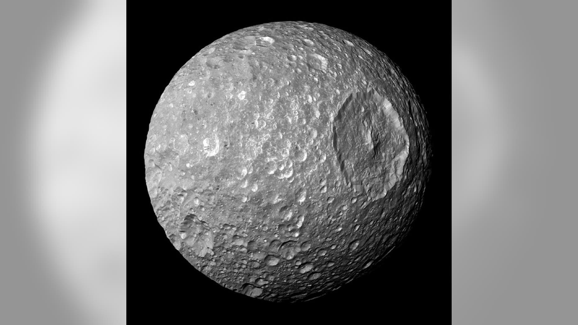 A photo of Saturn's moon Mimas.