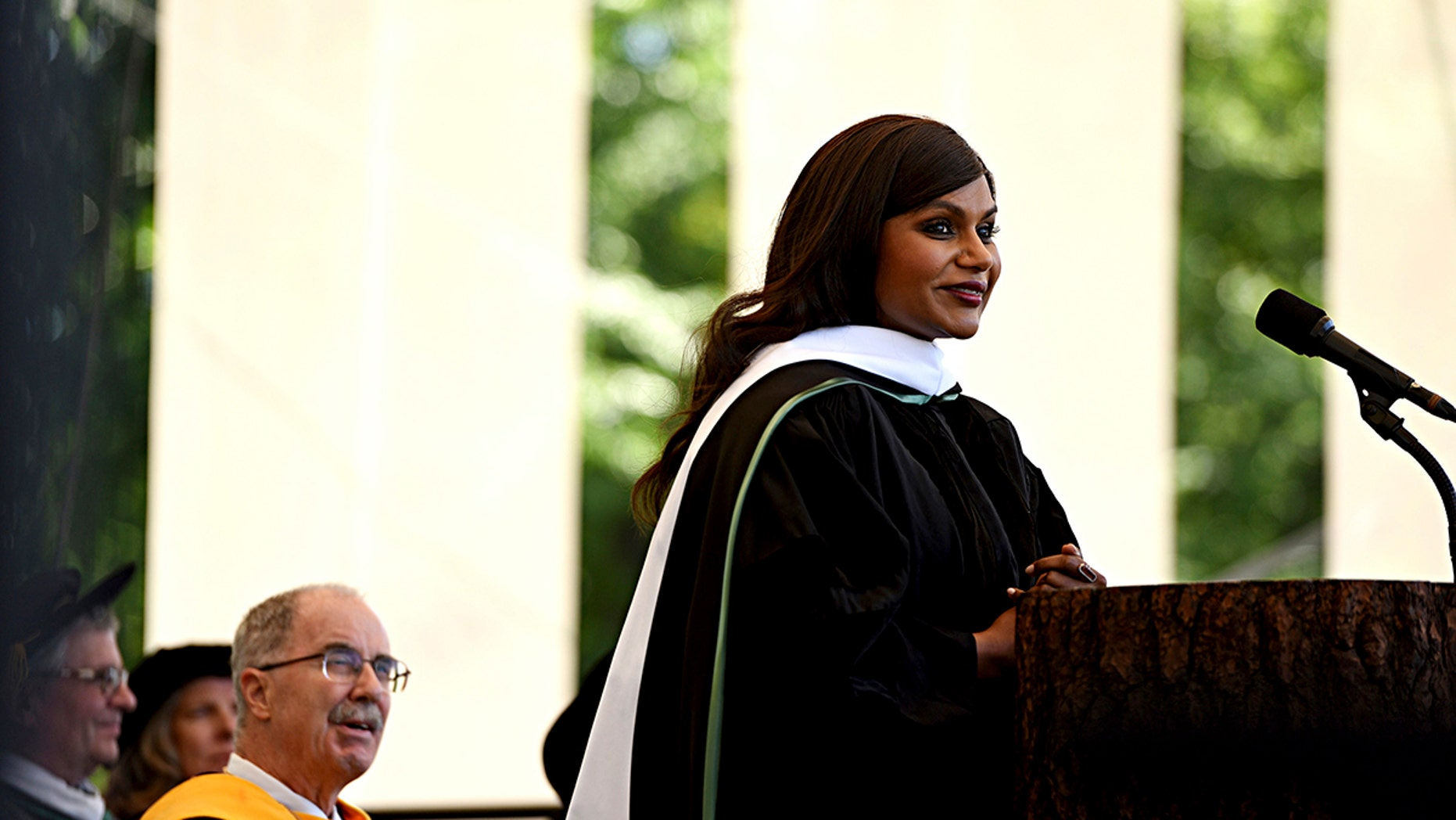 Actor, writer and comedian Mindy Kaling delivers the main address at the Dartmouth College Commencement on Sunday, June 10, 2018, in Hanover, N.H. Kaling graduated from the Ivy League school in 2001. (Jennifer Hauck/The Valley News via AP)