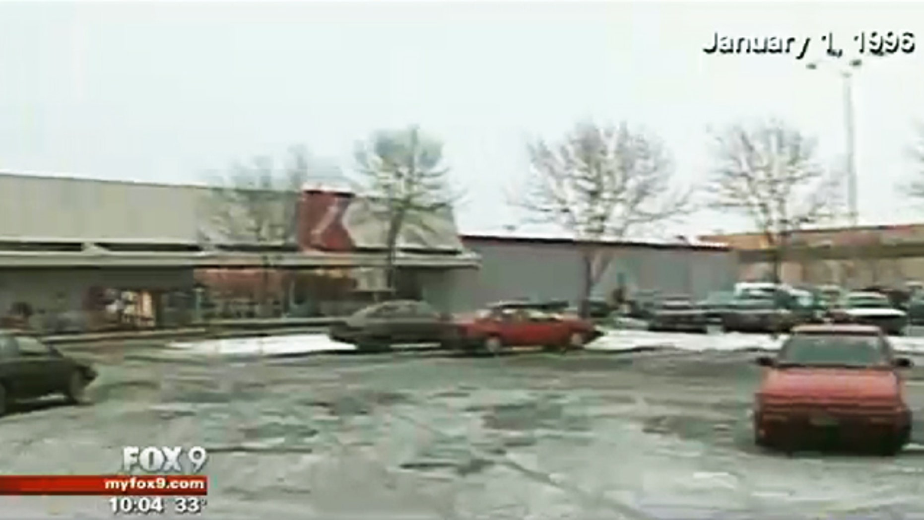 Jan. 1, 1996: This video image shows the Minneapolis parking lot where the body of Anne Dunlap was discovered in the trunk of her car.