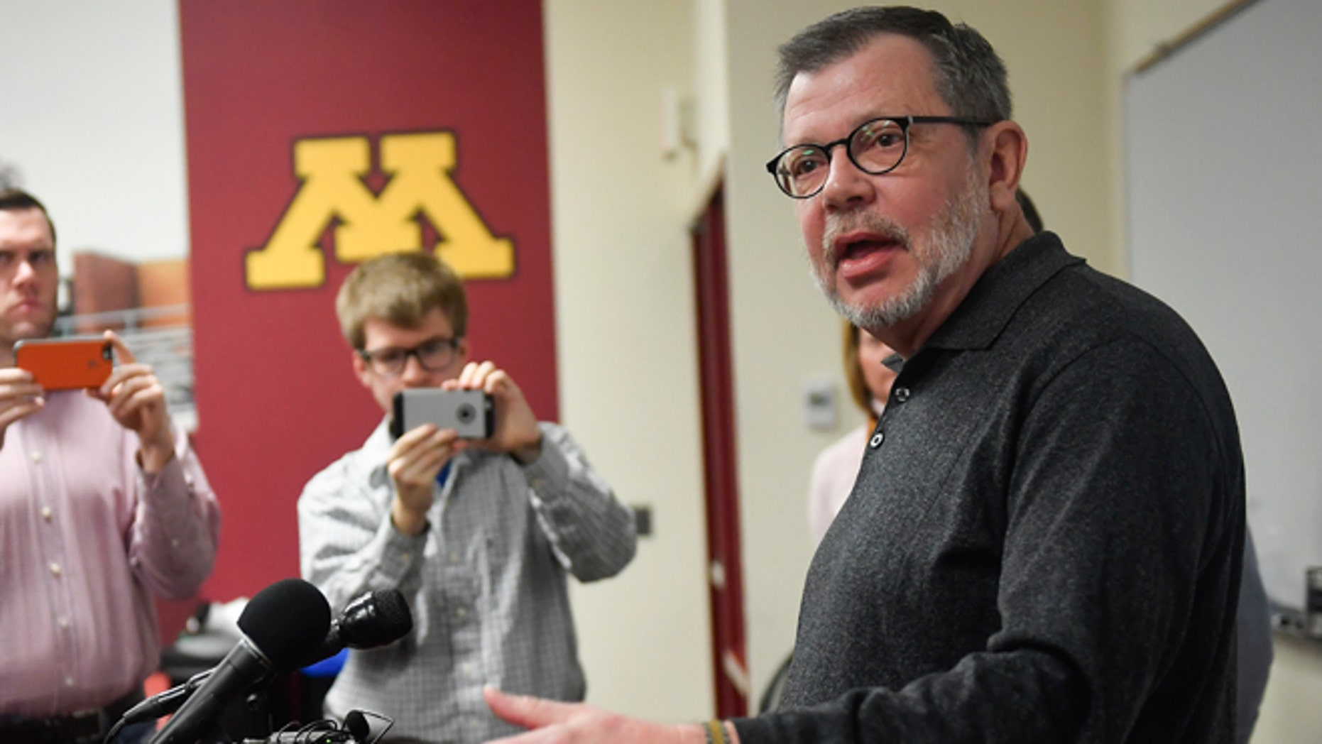 University of Minnesota President Eric Kaler speaks to members of the media Saturday, Dec. 17, 2016.