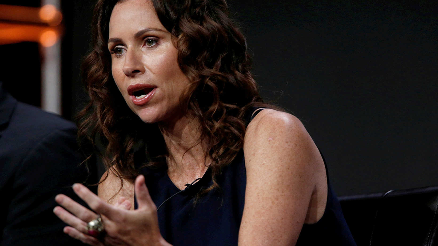 "Minnie Driver speaks at a panel for the television series ""Speechless"" during the TCA Disney ABC Summer Press Tour in Beverly Hills, California U.S., August 4, 2016."
