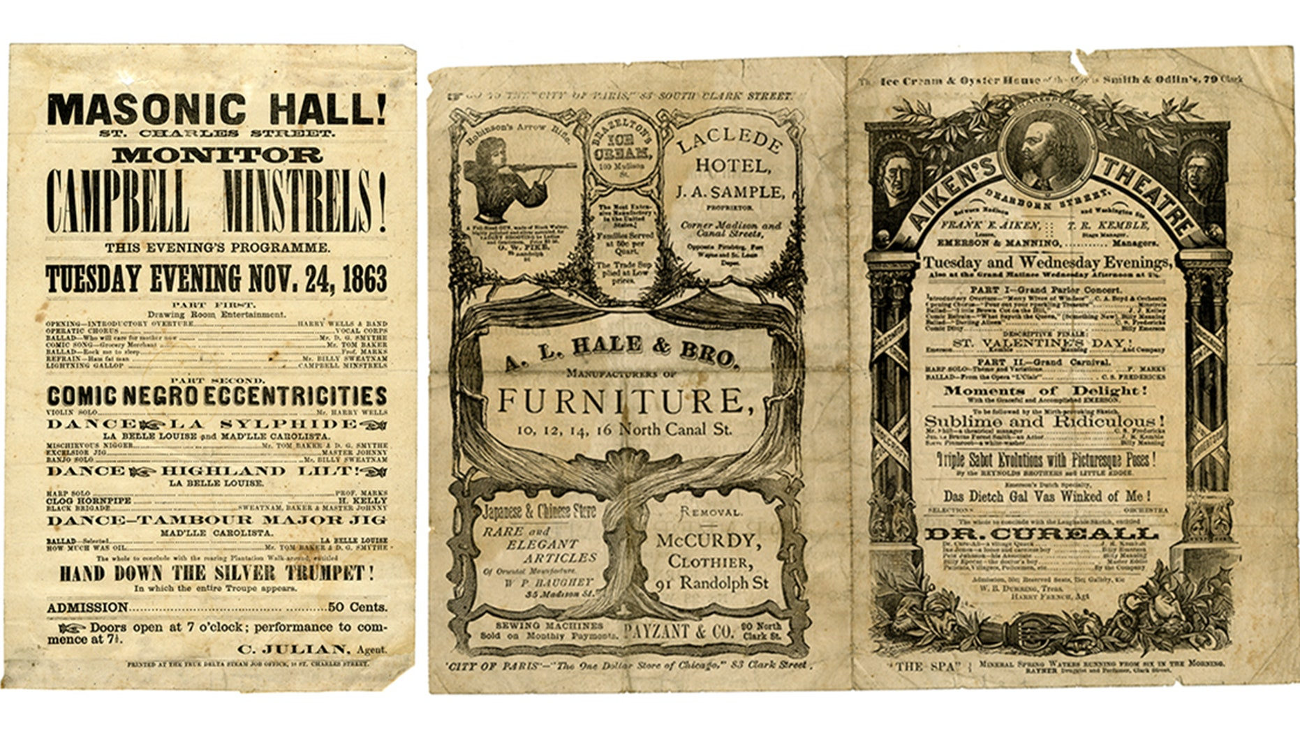 These handbills are from minstrel shows from the 1800s that were once owned by Peter Marks, a harpist who performed with the travelling troupe.
