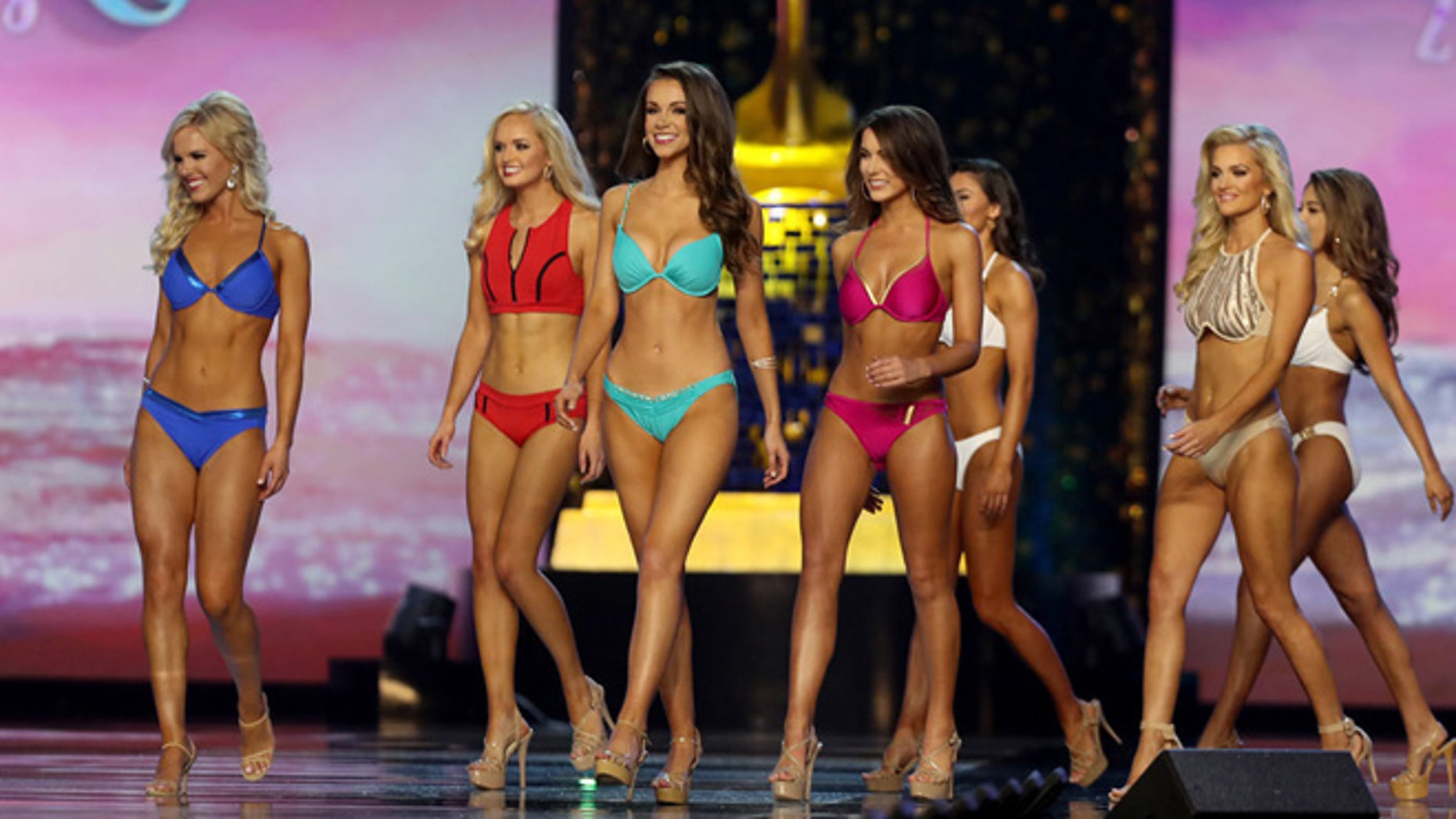 Miss America 2018 contestants walk the stage during the fitness competition during the second night of preliminaries in Atlantic City, NJ.