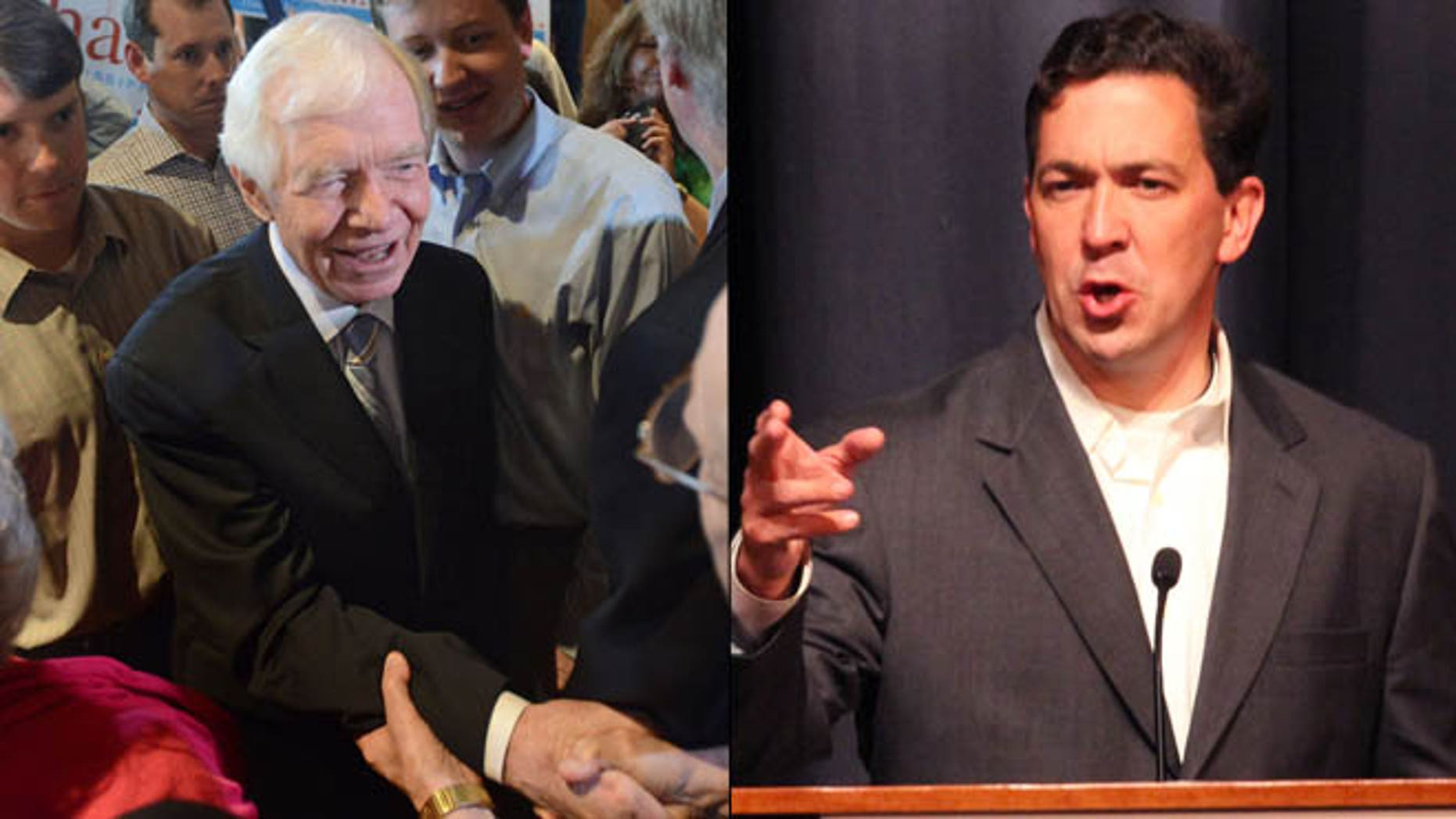 Show here are Mississippi Sen. Thad Cochran, left, and primary challenger Chris McDaniel.