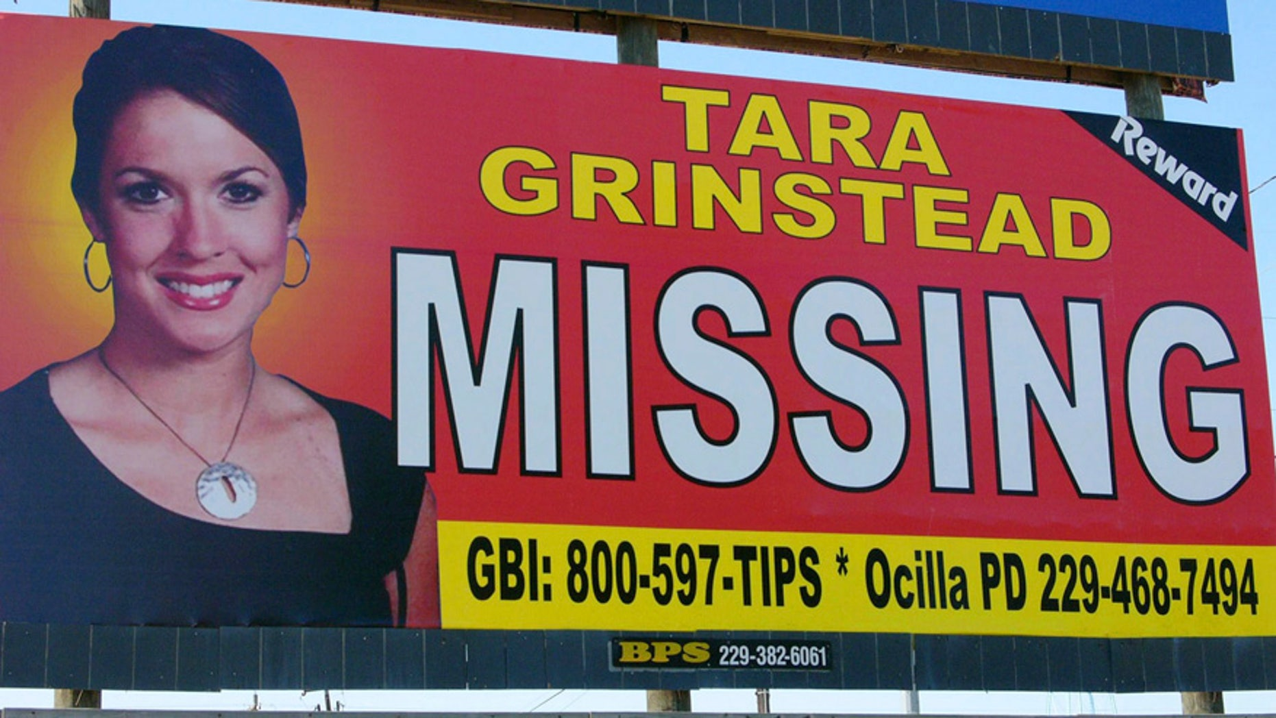 A photo of missing teacher Tara Grinstead displayed on a billboard in Ocilla in 2006.