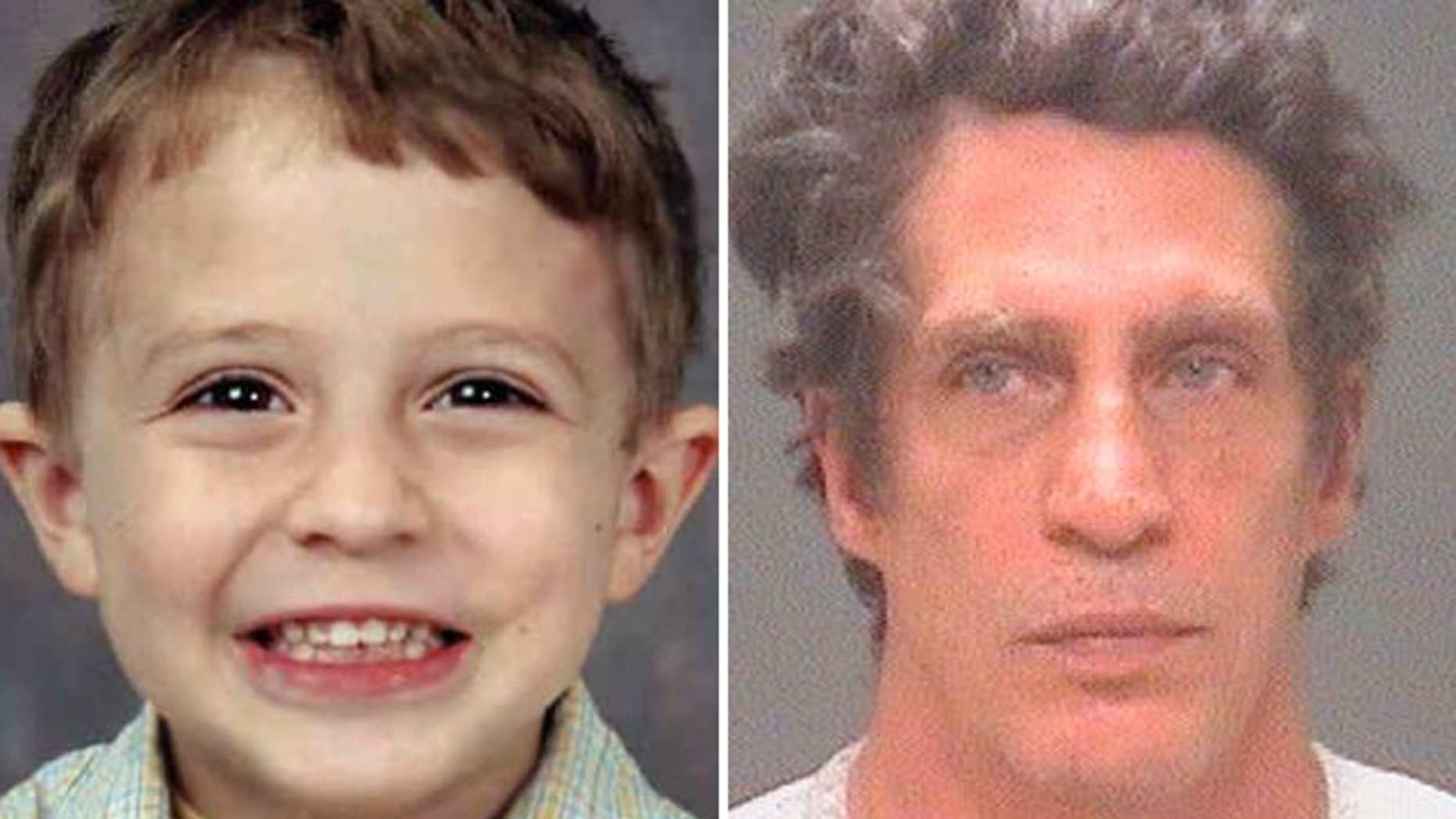 At left, Julian Hernandez at the time of his abduction in 2002, and father Bobby Hernandez after his arrest Nov. 2, 2015.