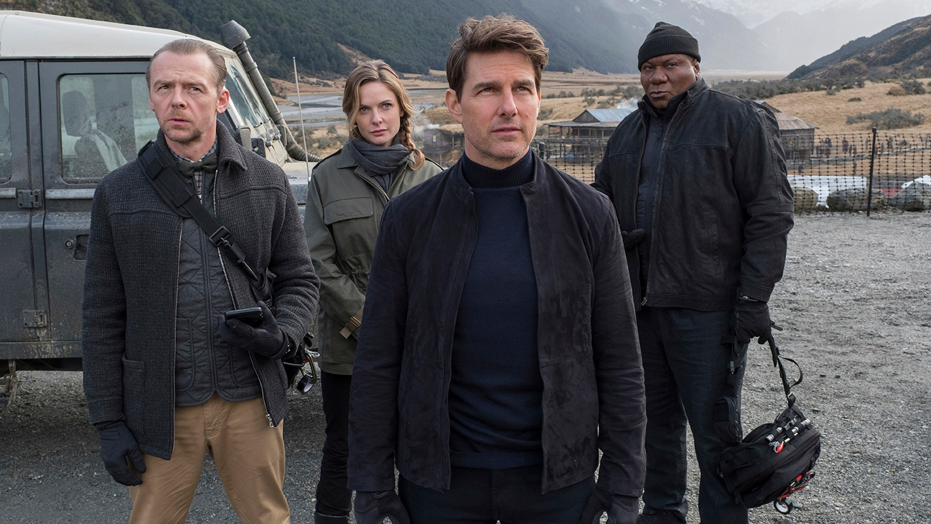 """This image released by Paramount Pictures shows, from left, Simon Pegg, Rebecca Ferguson, Tom Cruise and Ving Rhames in a scene from 2018's """"Mission: Impossible - Fallout."""" On Monday, Cruise announced that there will be two more """"Mission: Impossible"""" films. (David James/Paramount Pictures and Skydance via AP)"""