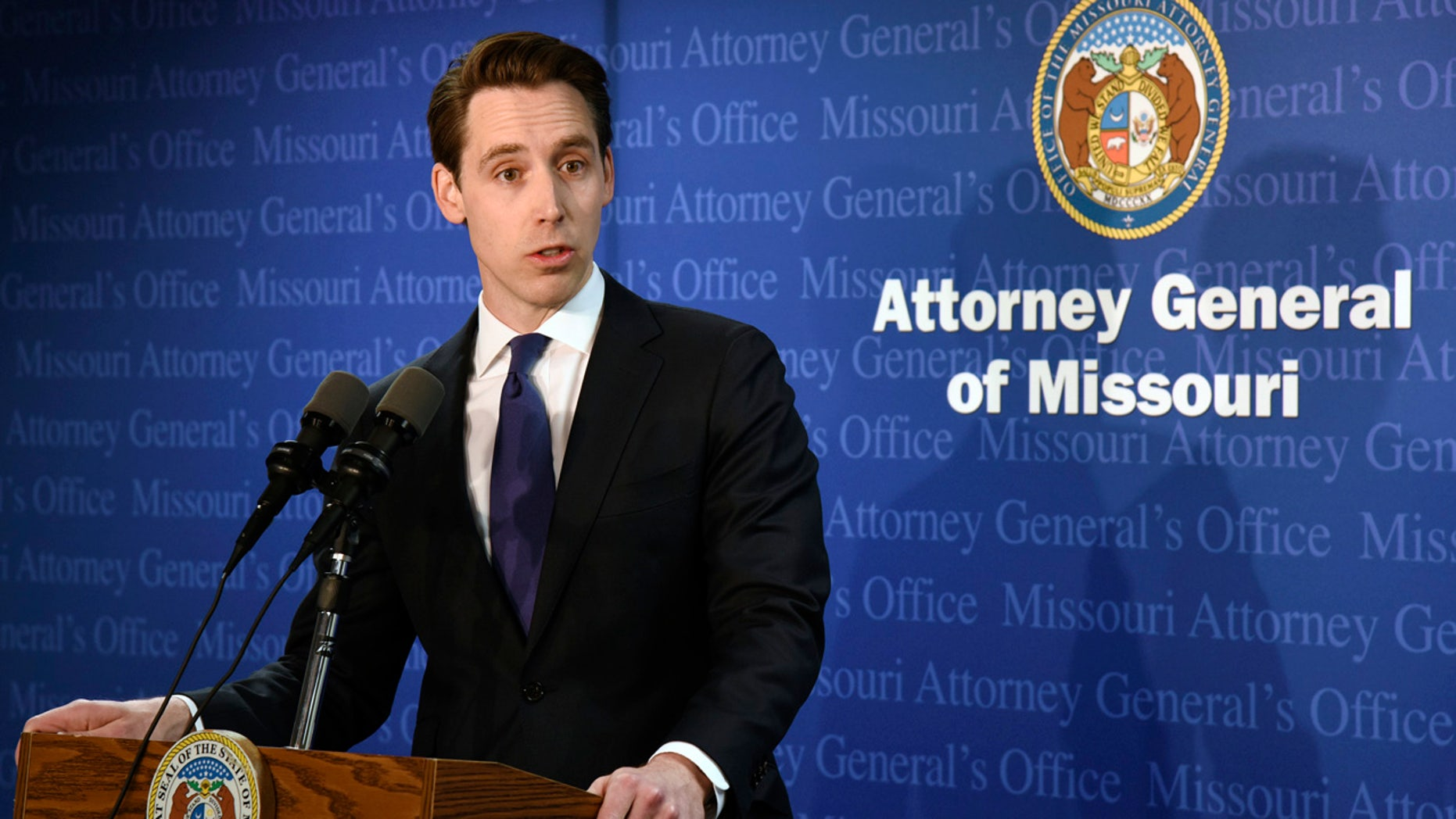 Missouri Attorney General Josh Hawley addresses reporters in Jefferson City Tuesday.