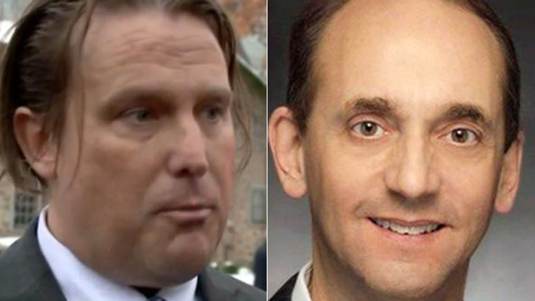 """Robert """"Spence"""" Jackson, (l.), was found dead Sunday of an apparent suicide, a month after his former boss, Missouri Auditor Tom Schweich, (r.), a candidate for governor, is believed to have taken his own life."""