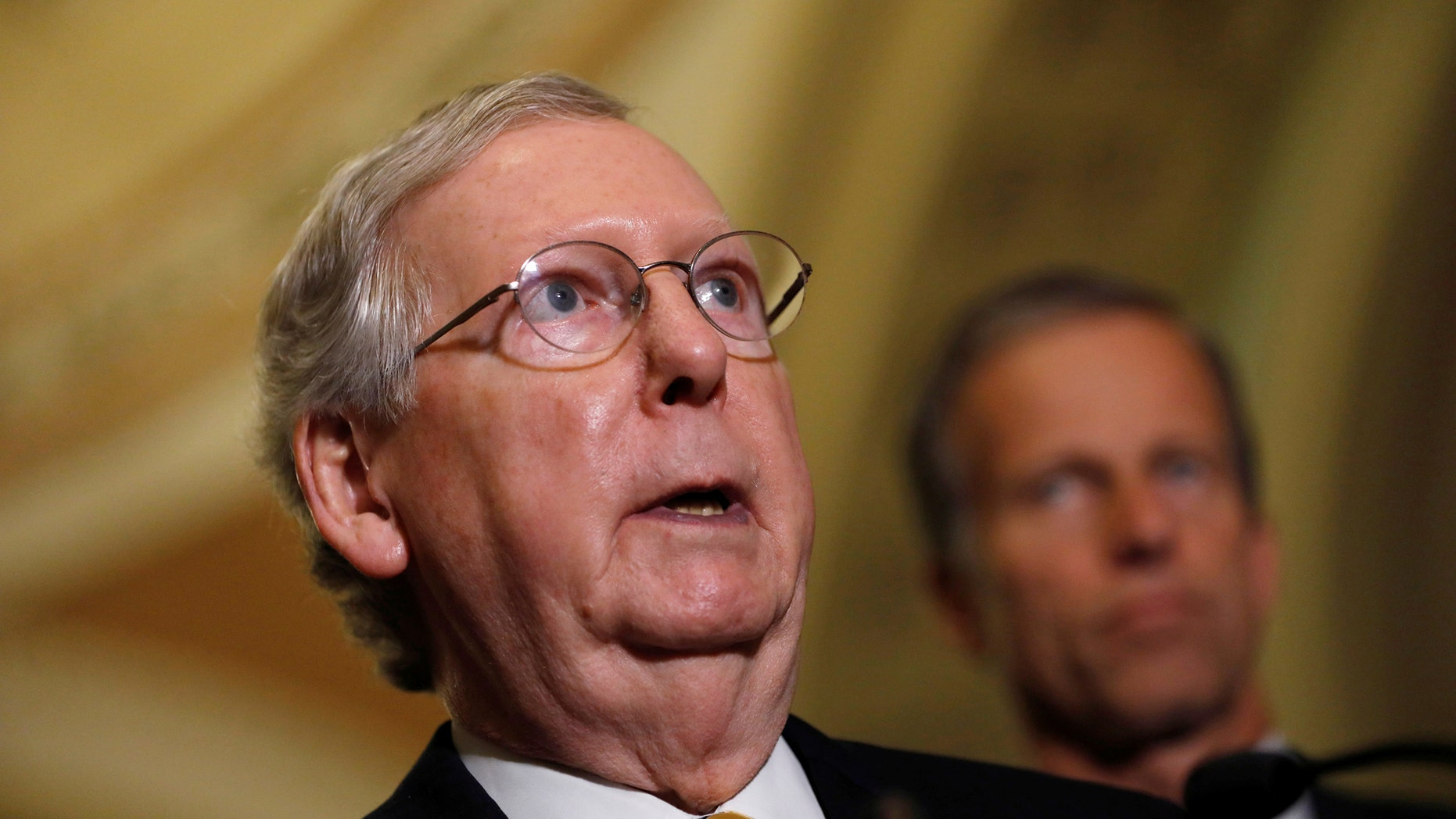 Senate Majority Leader Mitch McConnell speaks to the media about plans to repeal and replace Obamacare on Capitol Hill in Washington, U.S., June 27, 2017. REUTERS/Aaron P. Bernstein - RTS18VLA