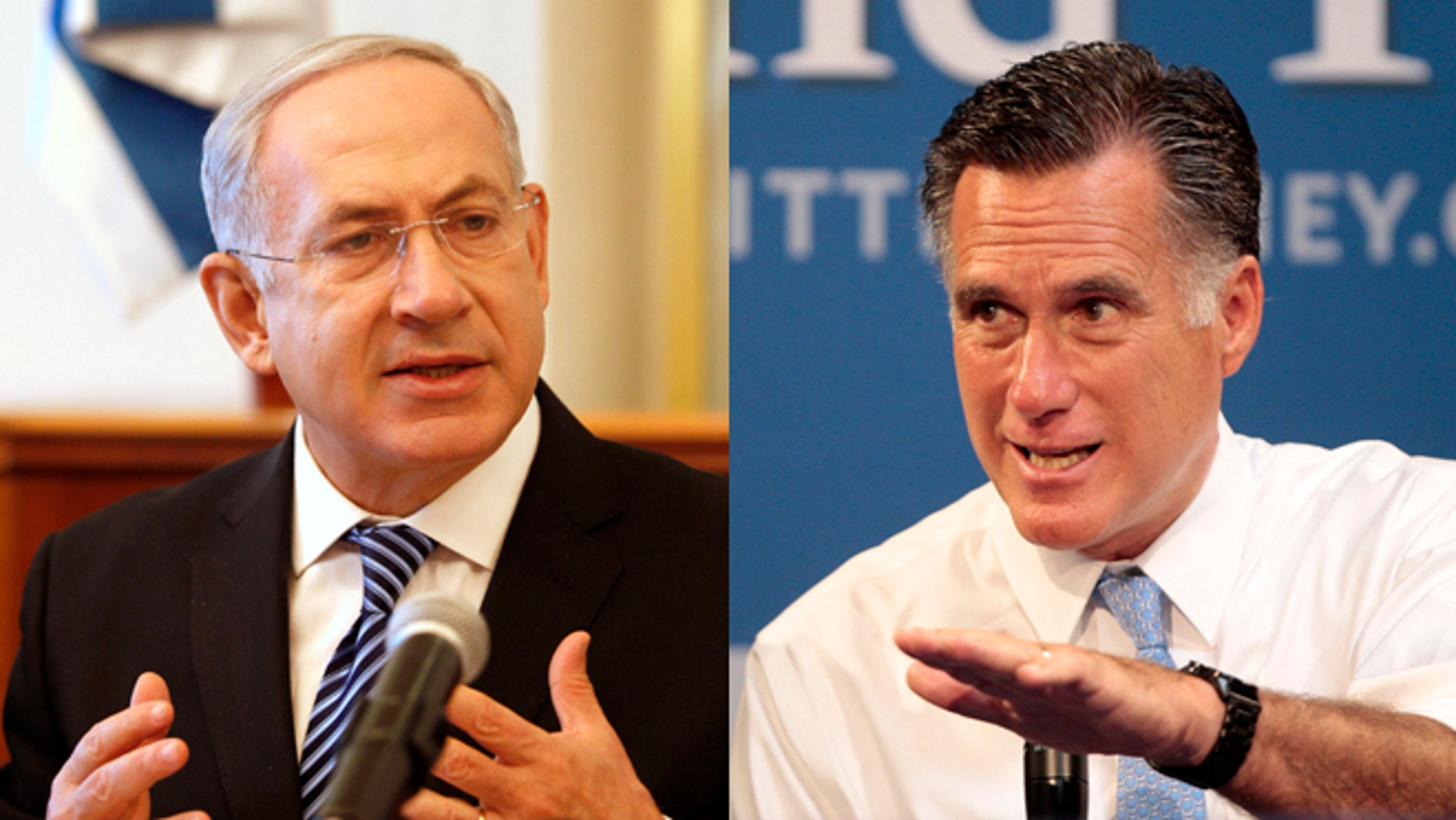 Shown here are Israeli Prime Minister Benjamin Netanyahu, left, and GOP presidential candidate Mitt Romney.