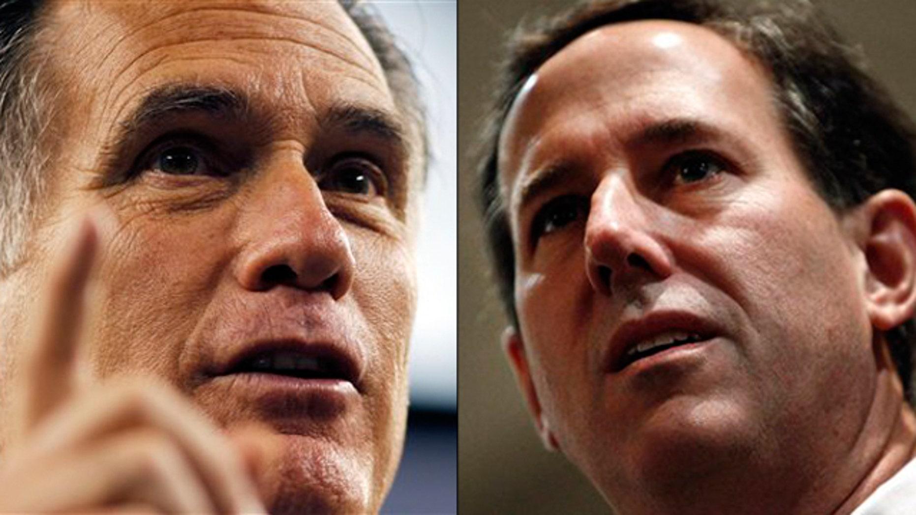 Shown here are Mitt Romney, left, and Rick Santorum.
