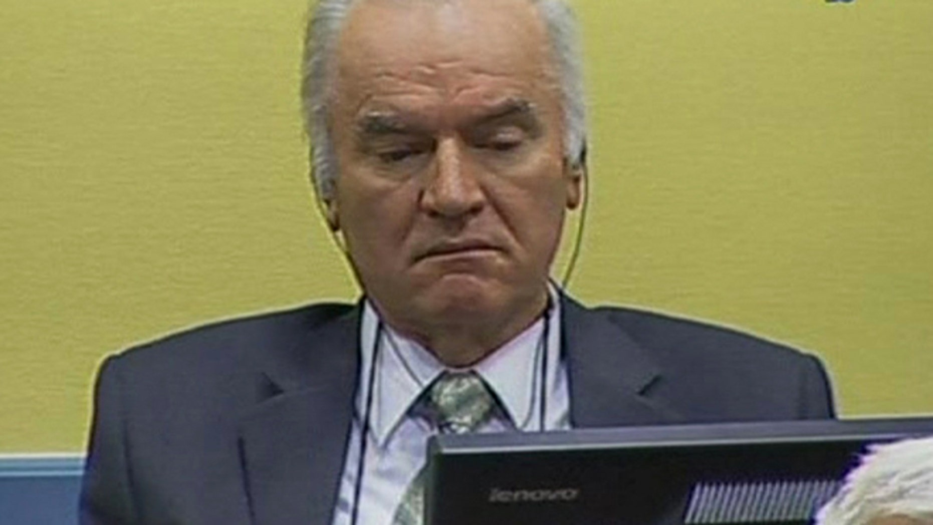May 17, 2012: In this video image taken from ICTY video former Bosnian Serb military commander Gen. Ratko Mladic is seen on the second day of his trial at the Yugoslav war crimes tribunal in The Hague, Netherlands.