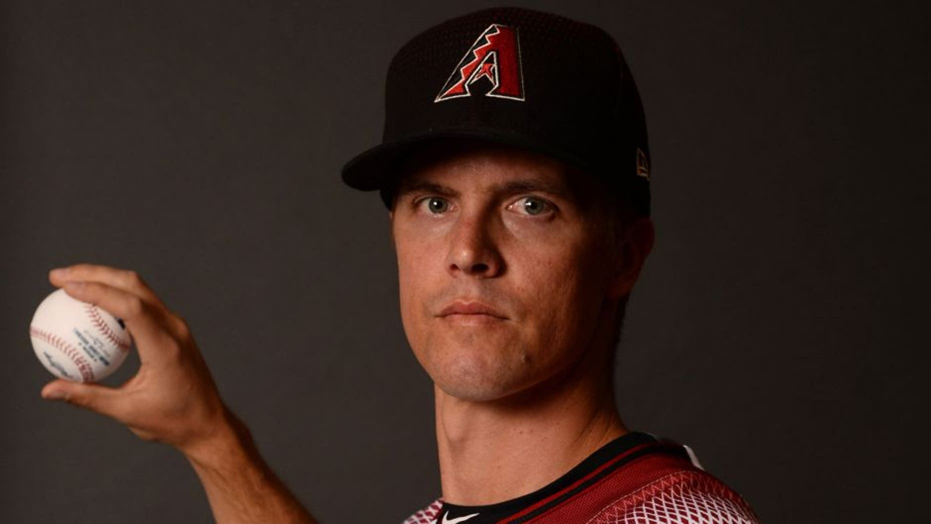 Feb 21, 2017; Scottsdale, AZ, USA; Arizona Diamondbacks starting pitcher Zack Greinke (21) poses for a photo during Spring Training Media Day at Salt River Fields at Talking Stick. Mandatory Credit: Joe Camporeale-USA TODAY Sports