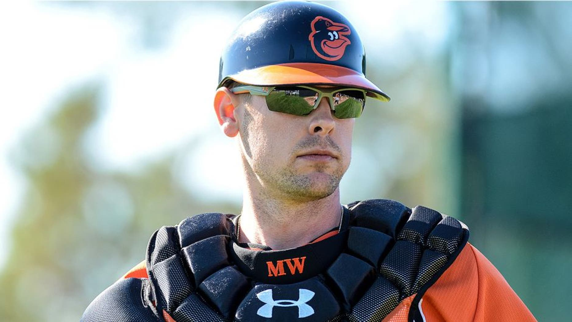 Feb 17, 2014; Sarasota, FL, USA; Baltimore Orioles catcher Matt Wieters (32) at Ed Smith Stadium. Mandatory Credit: Jonathan Dyer-USA TODAY Sports