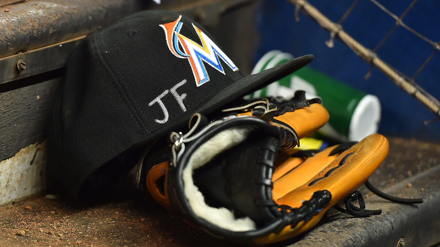 Sept. 27, 2016: A memorial for Jose Fernandez sits on the steps of the dugout in the game against the New York Mets at Marlins Park.