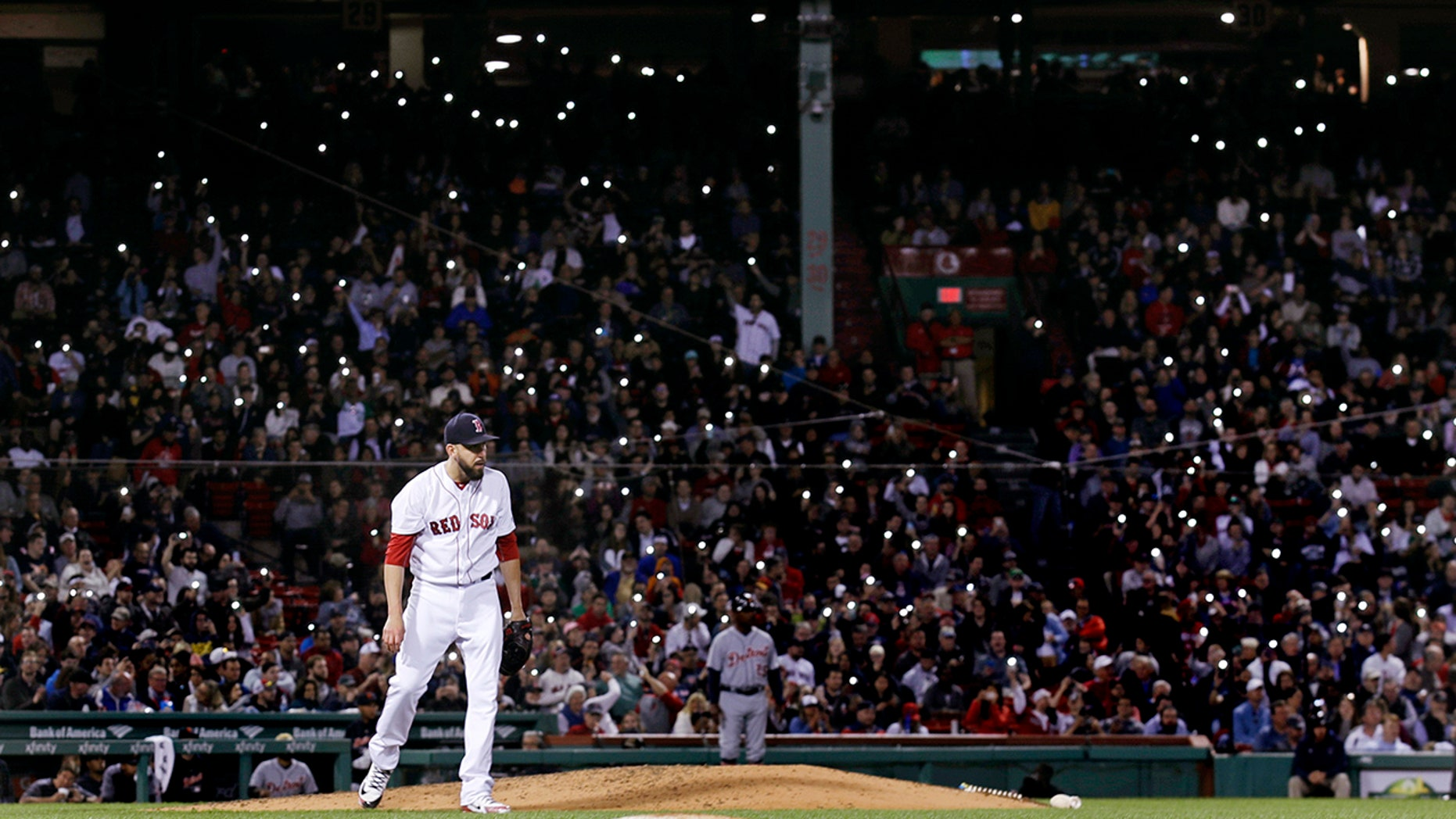 Boston Red Sox fans caused a delay in the seventh inning.