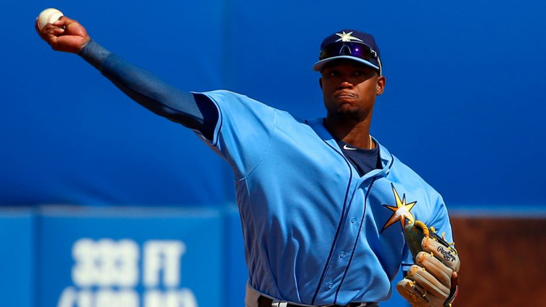 Mar 5, 2017; Dunedin, FL, USA; Tampa Bay Rays shortstop Tim Beckham (1) throws to first for the out in the fifth inning of a baseball game against the Toronto Blue Jays during spring training at Florida Auto Exchange Stadium. Mandatory Credit: Butch Dill-USA TODAY Sports