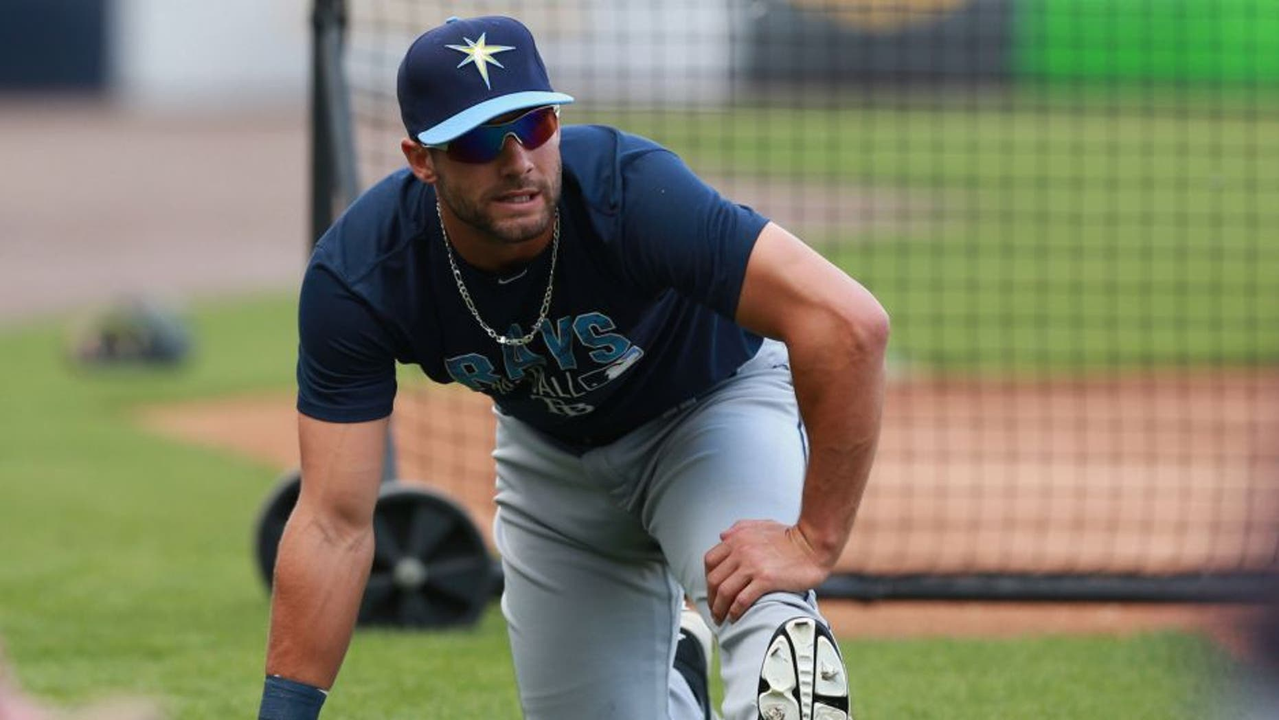 Mar 24, 2016; Tampa, FL, USA; Tampa Bay Rays center fielder Kevin Kiermaier (39) works out prior to the game at George M. Steinbrenner Field. Mandatory Credit: Kim Klement-USA TODAY Sports