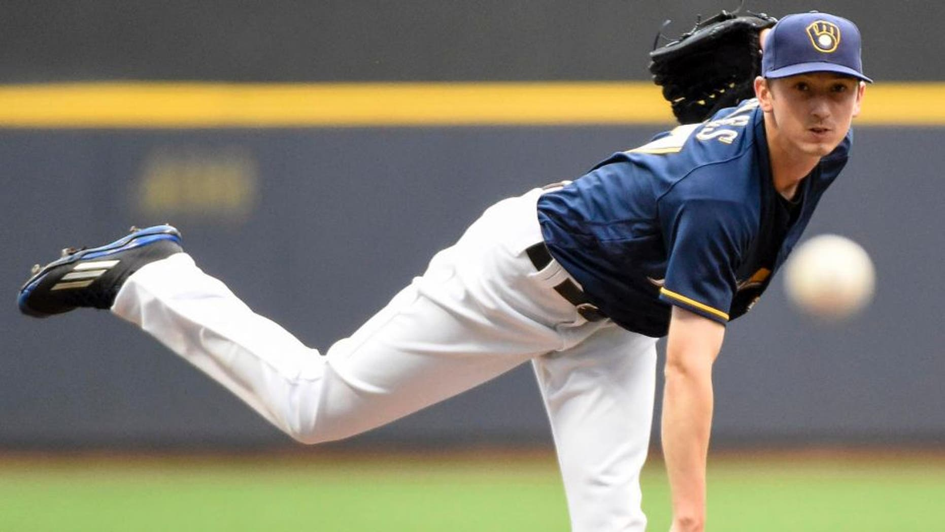 Aug 29, 2016; Milwaukee, WI, USA; Milwaukee Brewers pitcher Zach Davies throws a pitch in the first inning during the game against the St. Louis Cardinals at Miller Park. Mandatory Credit: Benny Sieu-USA TODAY Sports