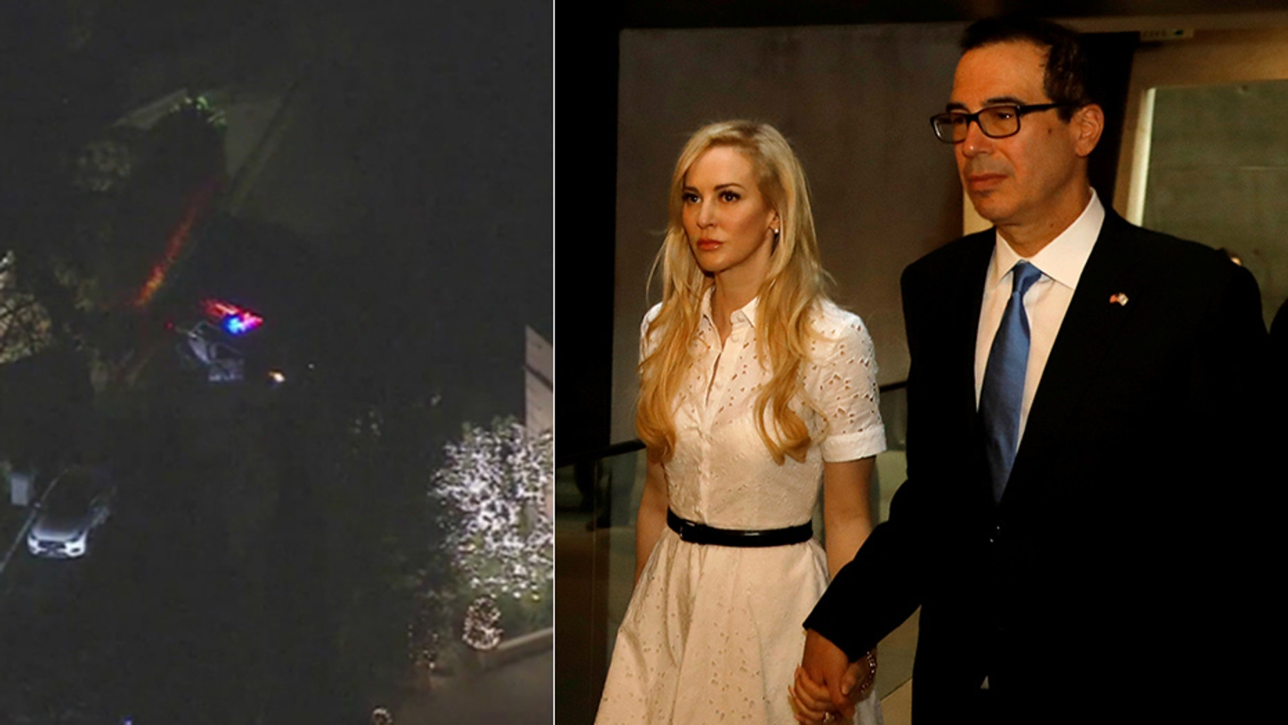 A bomb squad investigating a suspicious package left outside the home of Treasury Secretary Steven Mnuchin and his wife, Louise Linton, found that it was horse manure.