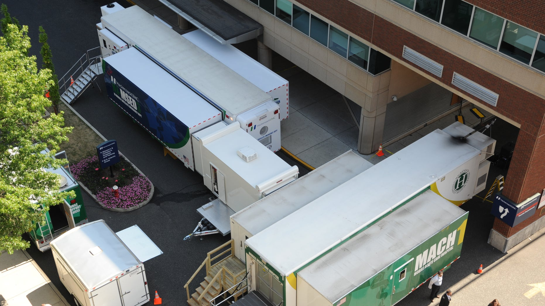 An aerial view of the New Jersey Mobile Satellite Department. Courtesy of Hackensack University Medical Center