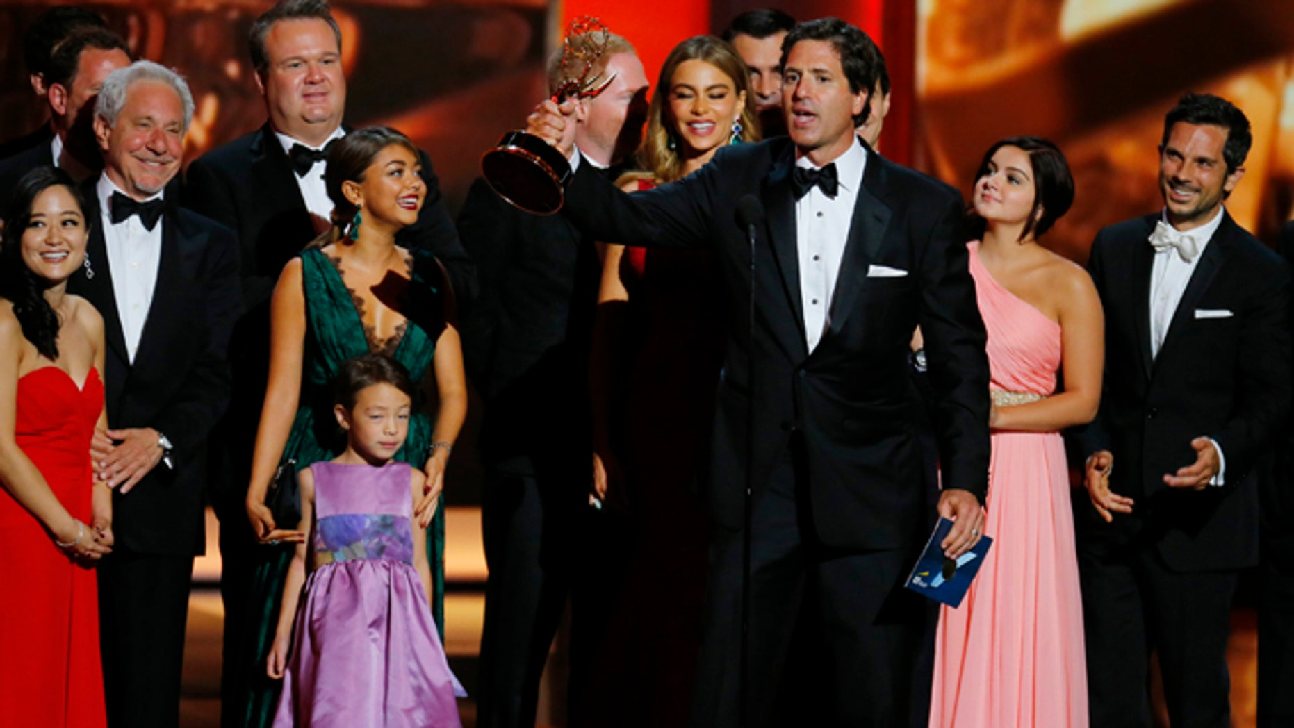 """Steven Levitan, Executive Producer, accepts the award for Outstanding Comedy Series for """"Modern Family"""" at the 65th Primetime Emmy Awards in Los Angeles September 22, 2013."""