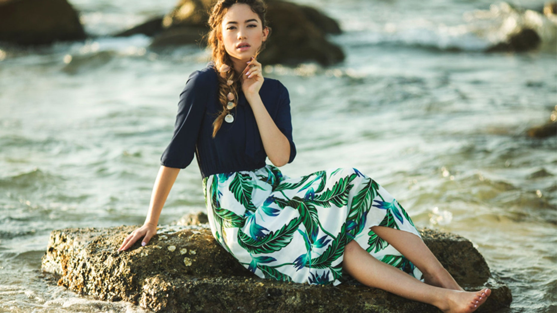 A model wears a dress available on the modest fashion marketplace ModLi.