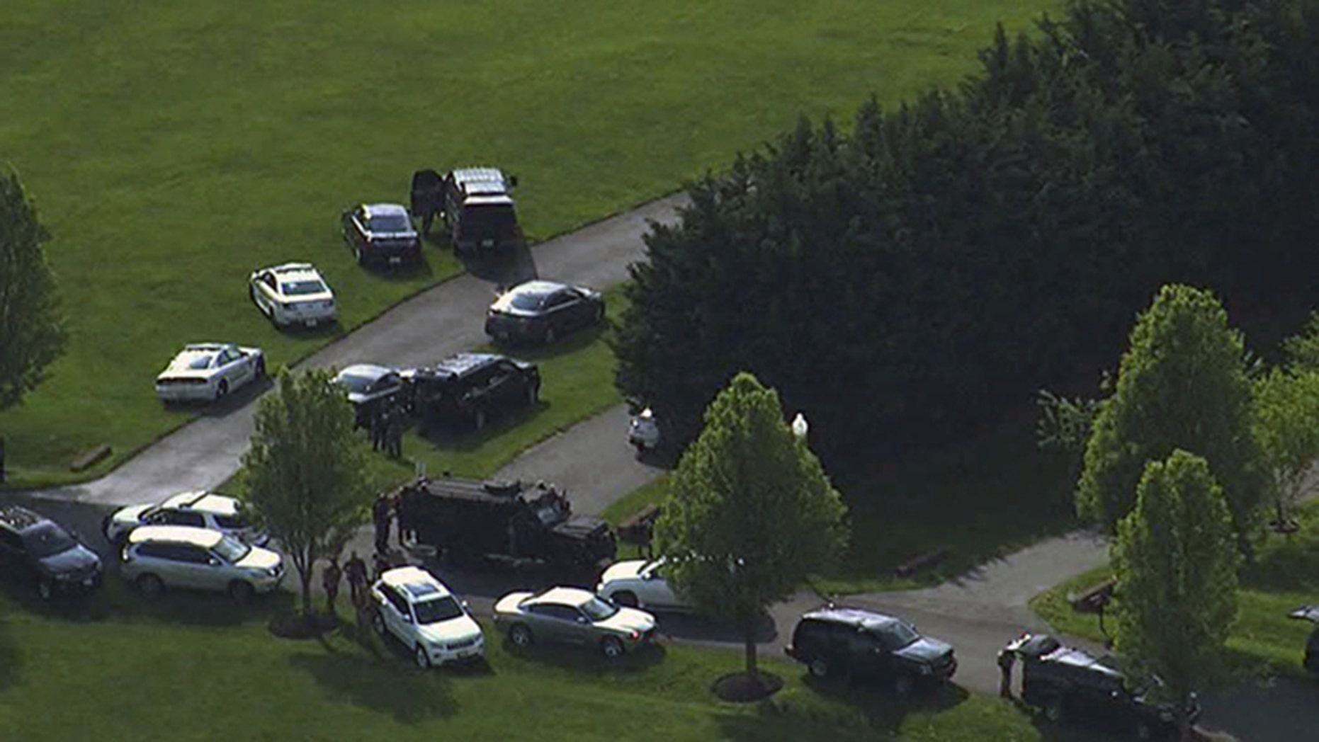 "A manhunt is underway in Montgomery County, Maryland after ""multiple"" people were discovered fatally shot inside a Brookville home on Monday afternoon."