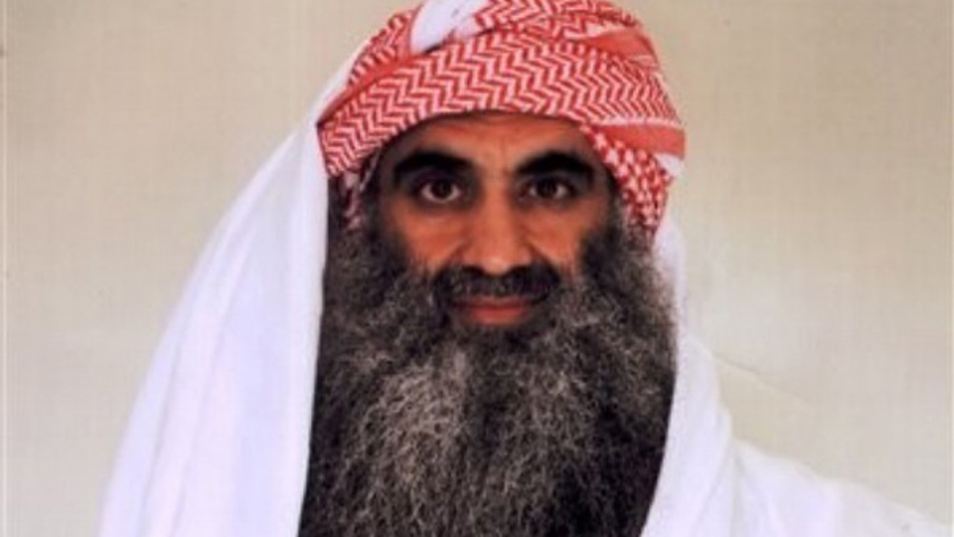 Photo purporting to show Khalid Sheik Mohammed in detention at Guantanamo Bay, Cuba. (AP)