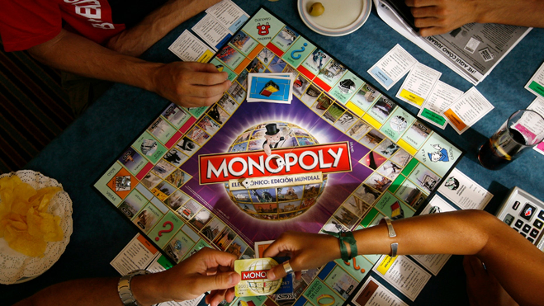 August 27, 2008: Players participate in a Guinness world record attempt taking place across the world for the largest simultaneous game of Monopoly, at a hotel in Madrid.