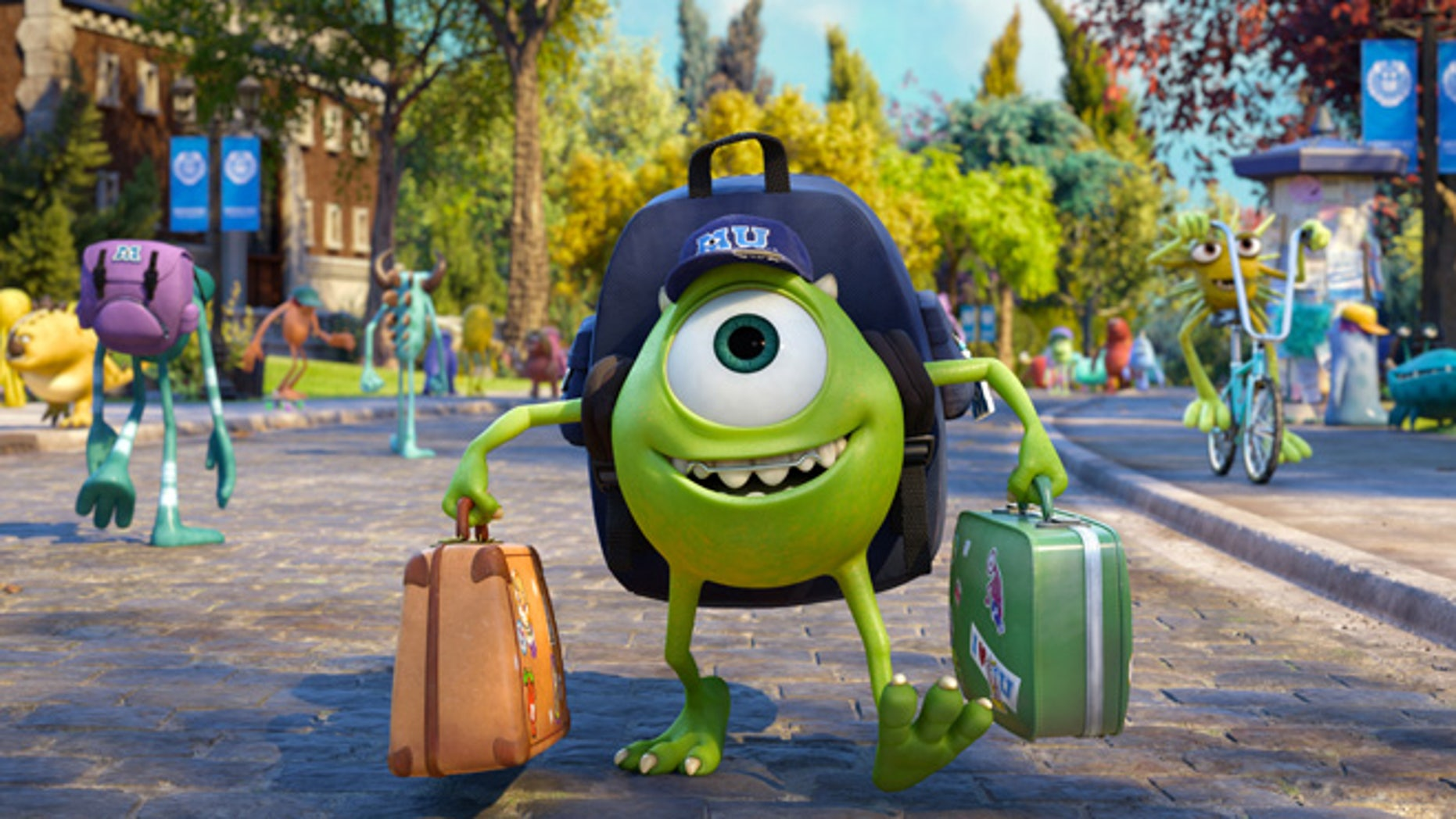 "This film publicity image released by Disney-Pixar shows Mike Wazowski, voiced by Billy Crystal in a scene from ""Monsters University."""