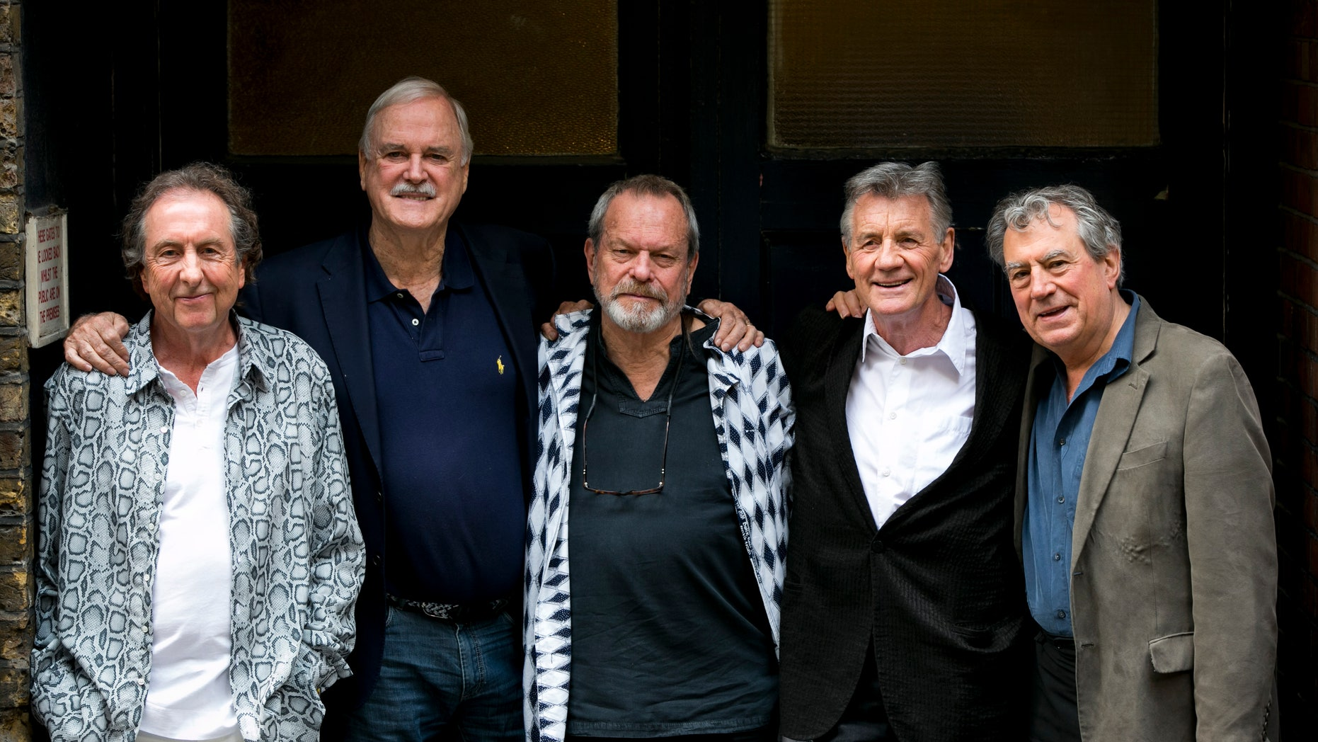 June 20, 2014. From left, Eric Idle, John Cleese, Terry Gilliam, Michael Palin and Terry Jones of the comedy group Monty Python pose for photographers during a photo call in London.