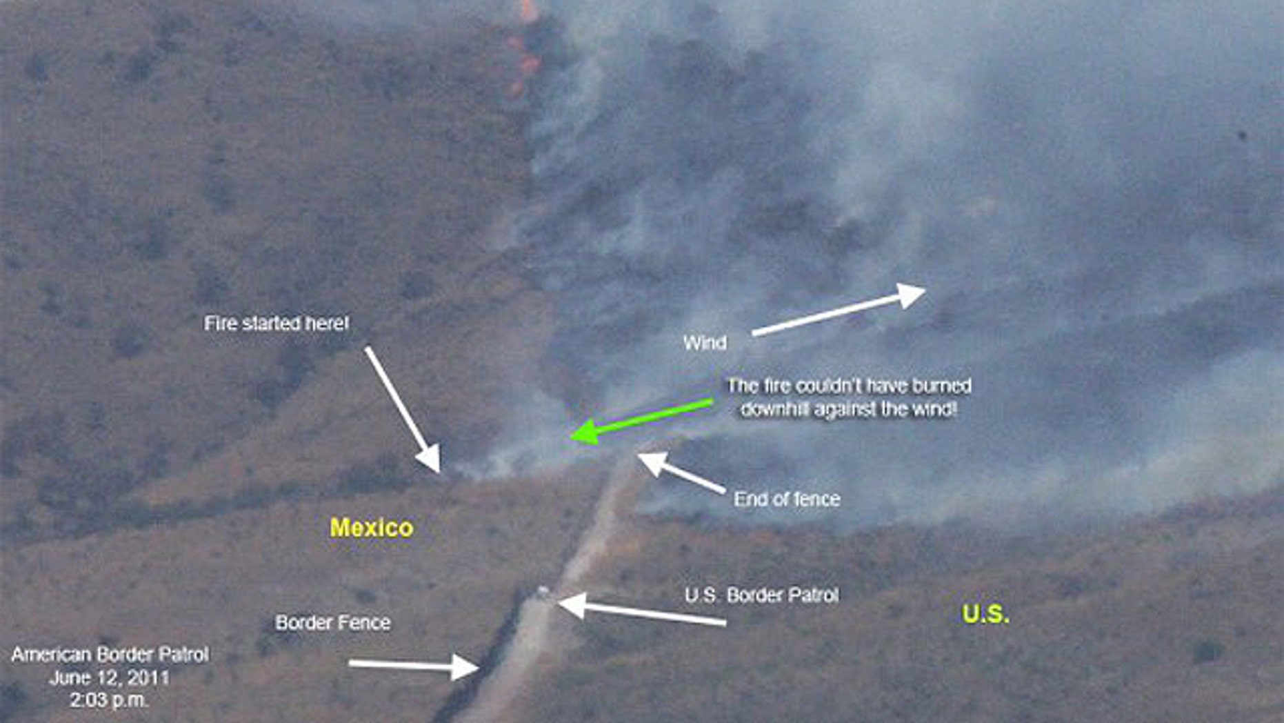 """An aerial photograph purportedly taken on June 12 of the area by American Border Patrol, an independent organization that monitors the border, claims the blaze actually started in Mexico and traveled upwind into the United States. Dever said that was an """"accurate picture"""" of what occurred."""